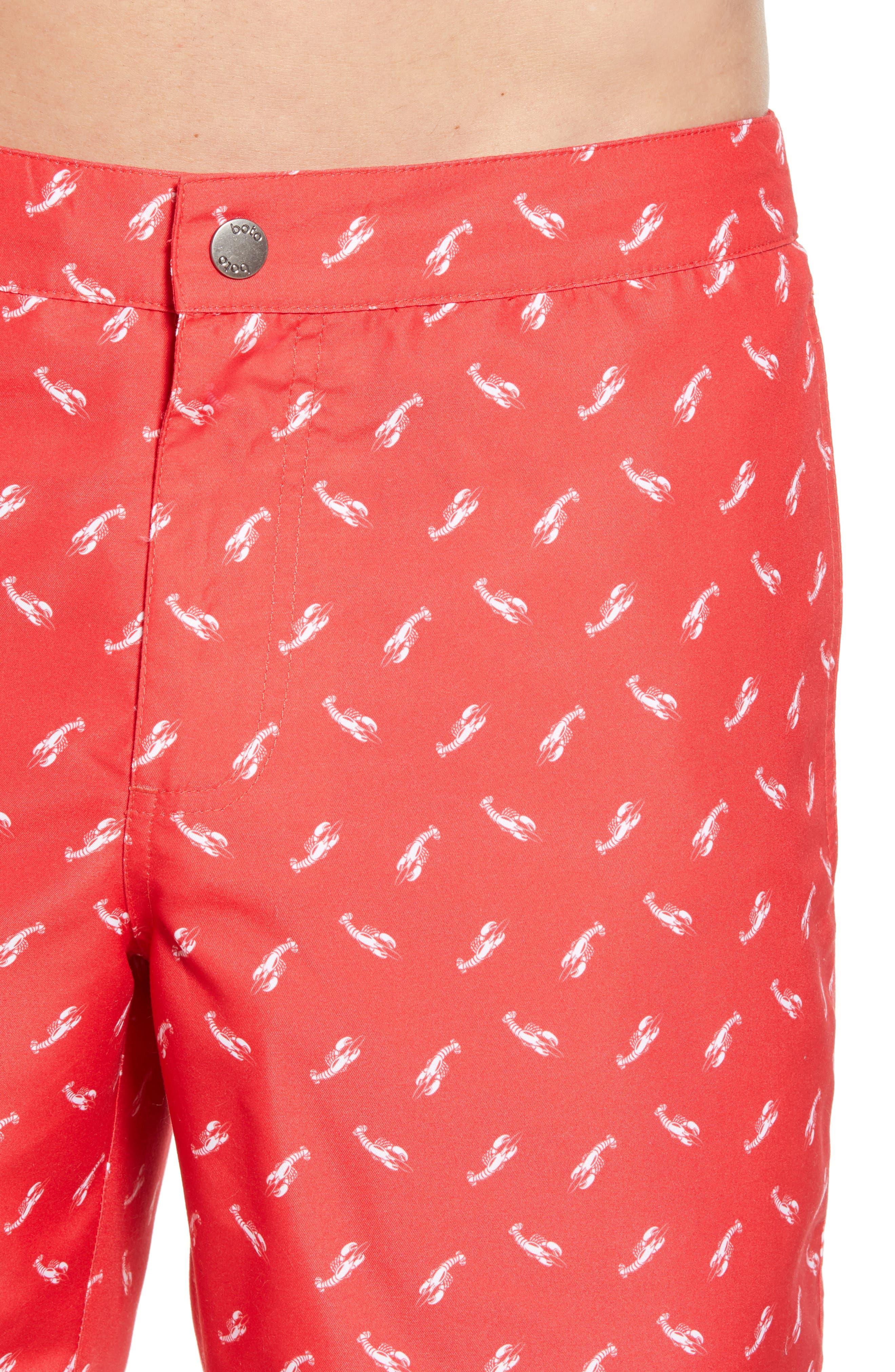 Aruba Slim Fit Swim Trunks,                             Alternate thumbnail 4, color,                             Red Lobsters Print