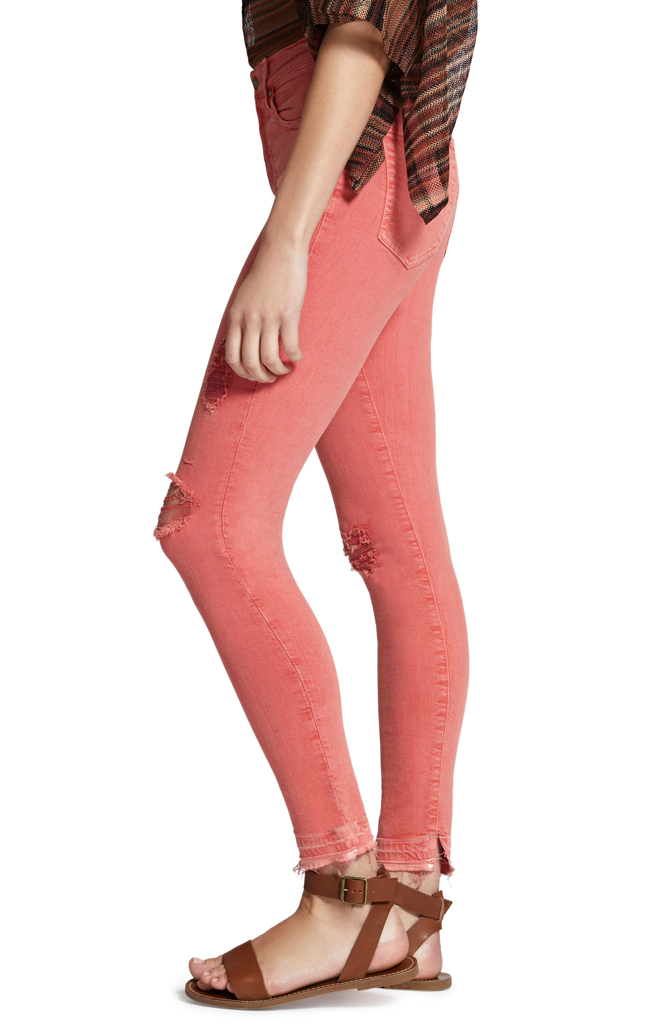 Robbie High Waist Ankle Jeans,                             Alternate thumbnail 3, color,                             Chili Wash
