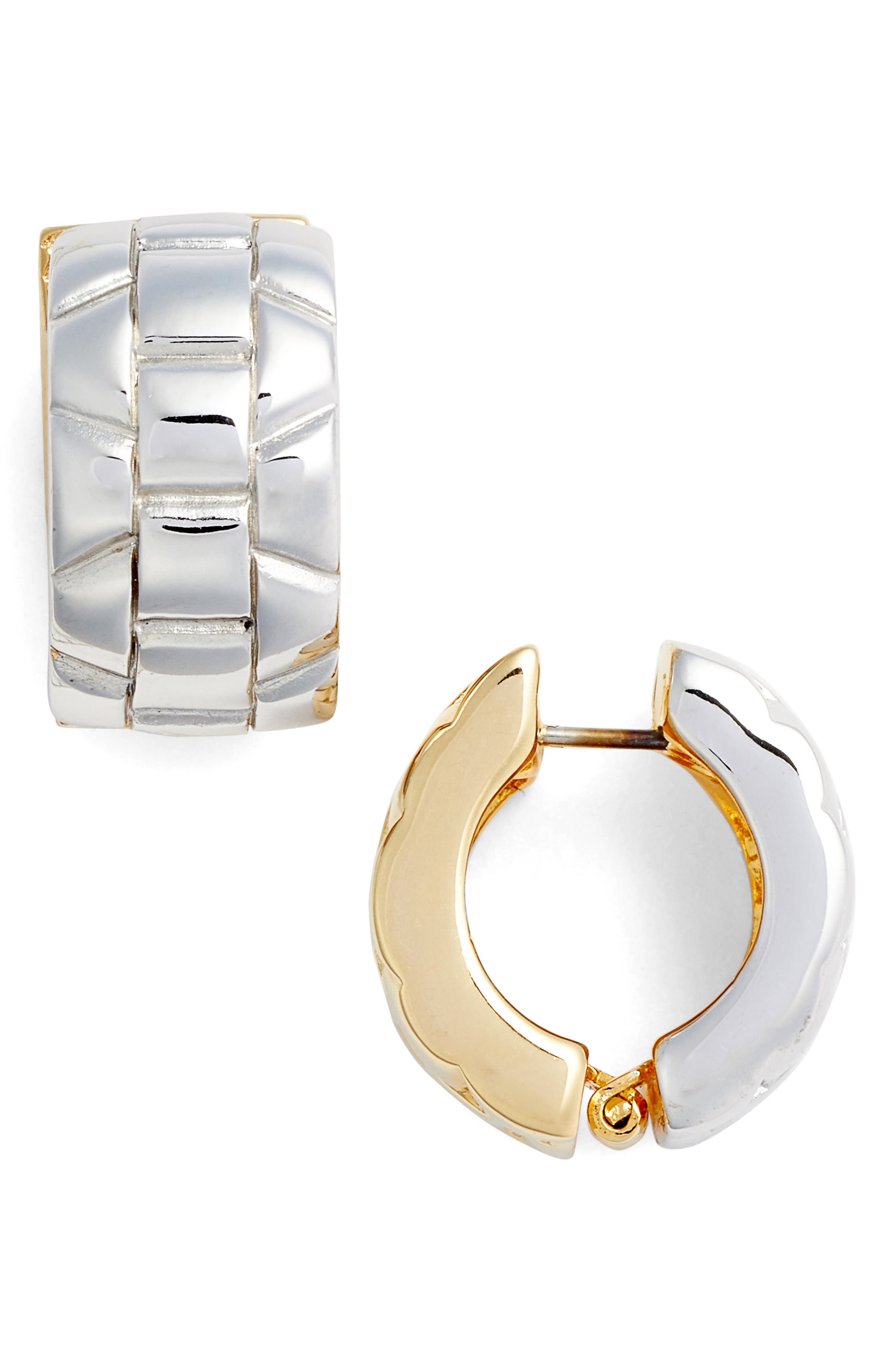 Two Tone Cable Earrings,                             Main thumbnail 1, color,                             Silver/ Gold
