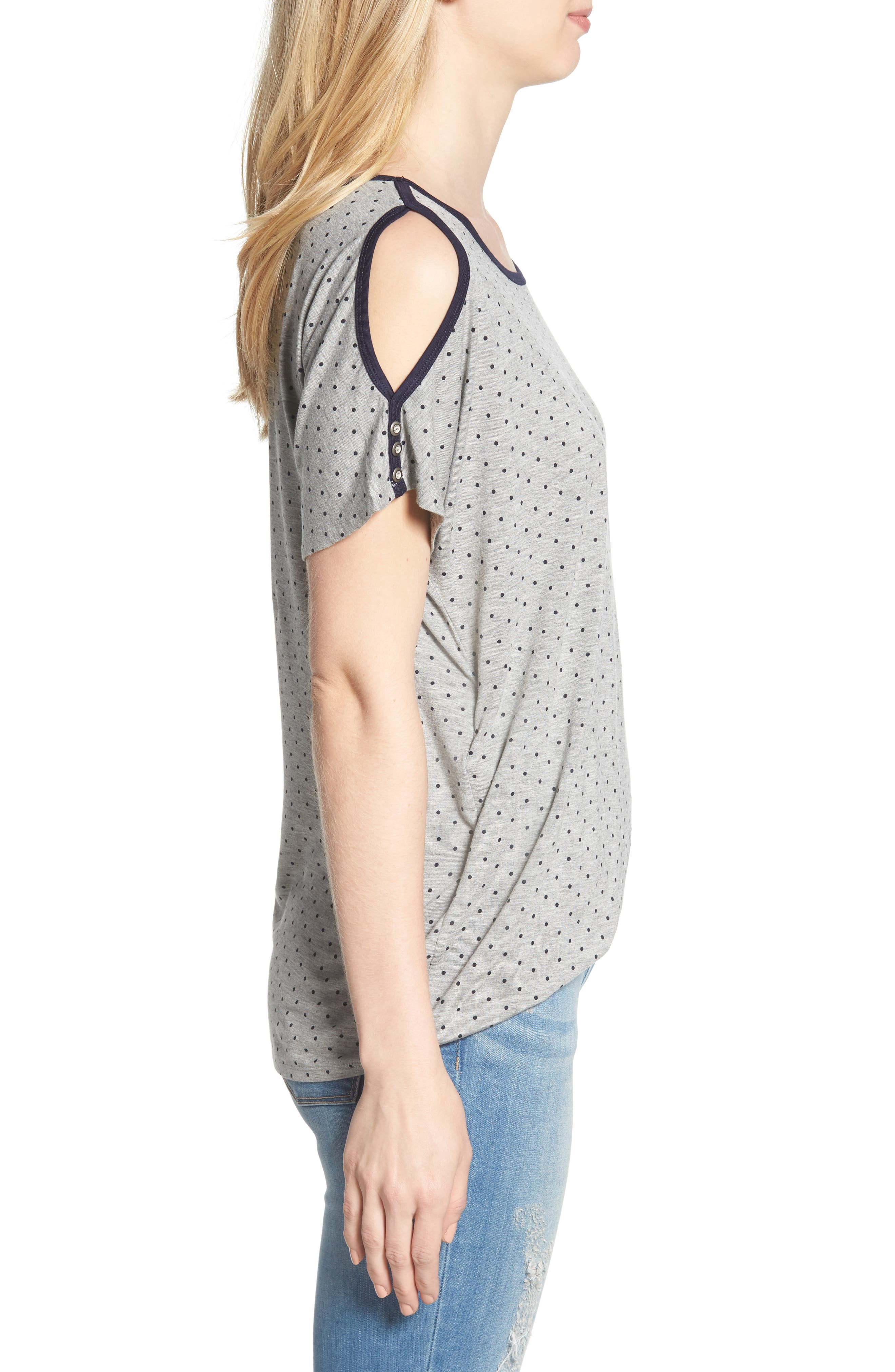 Polka Dot Twist Front Cold Shoulder Top,                             Alternate thumbnail 3, color,                             Heather Grey