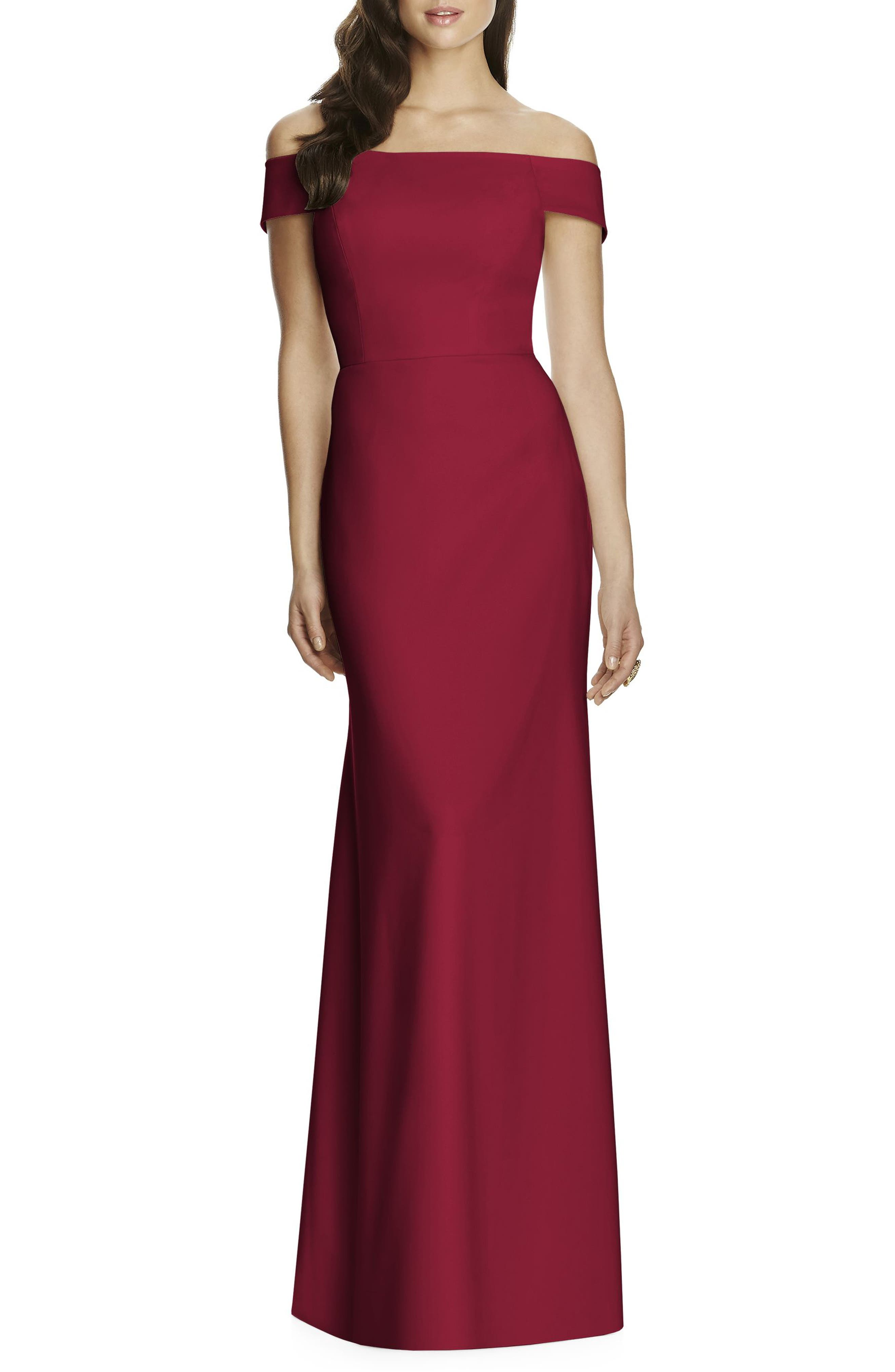 Off the Shoulder Crepe Gown,                         Main,                         color, Burgundy