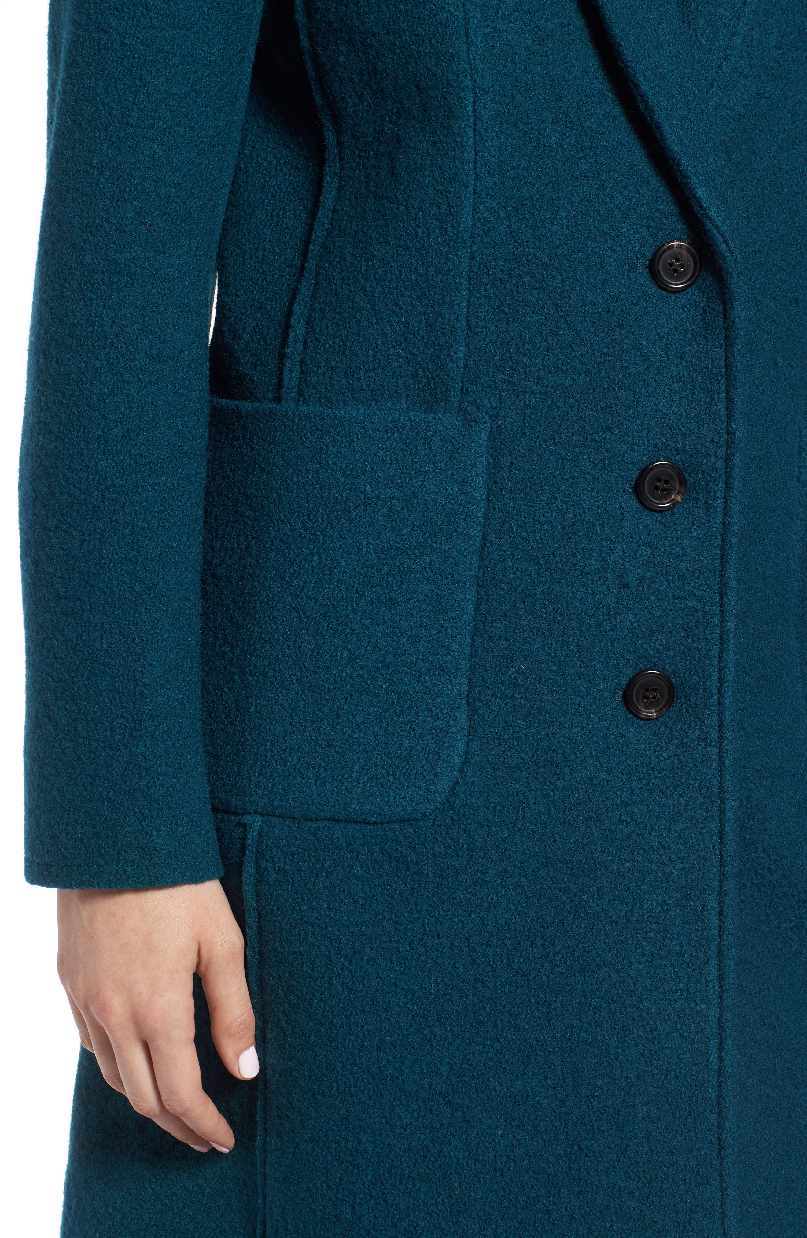 Olga Boiled Wool Topcoat,                             Alternate thumbnail 4, color,                             Winter Pine