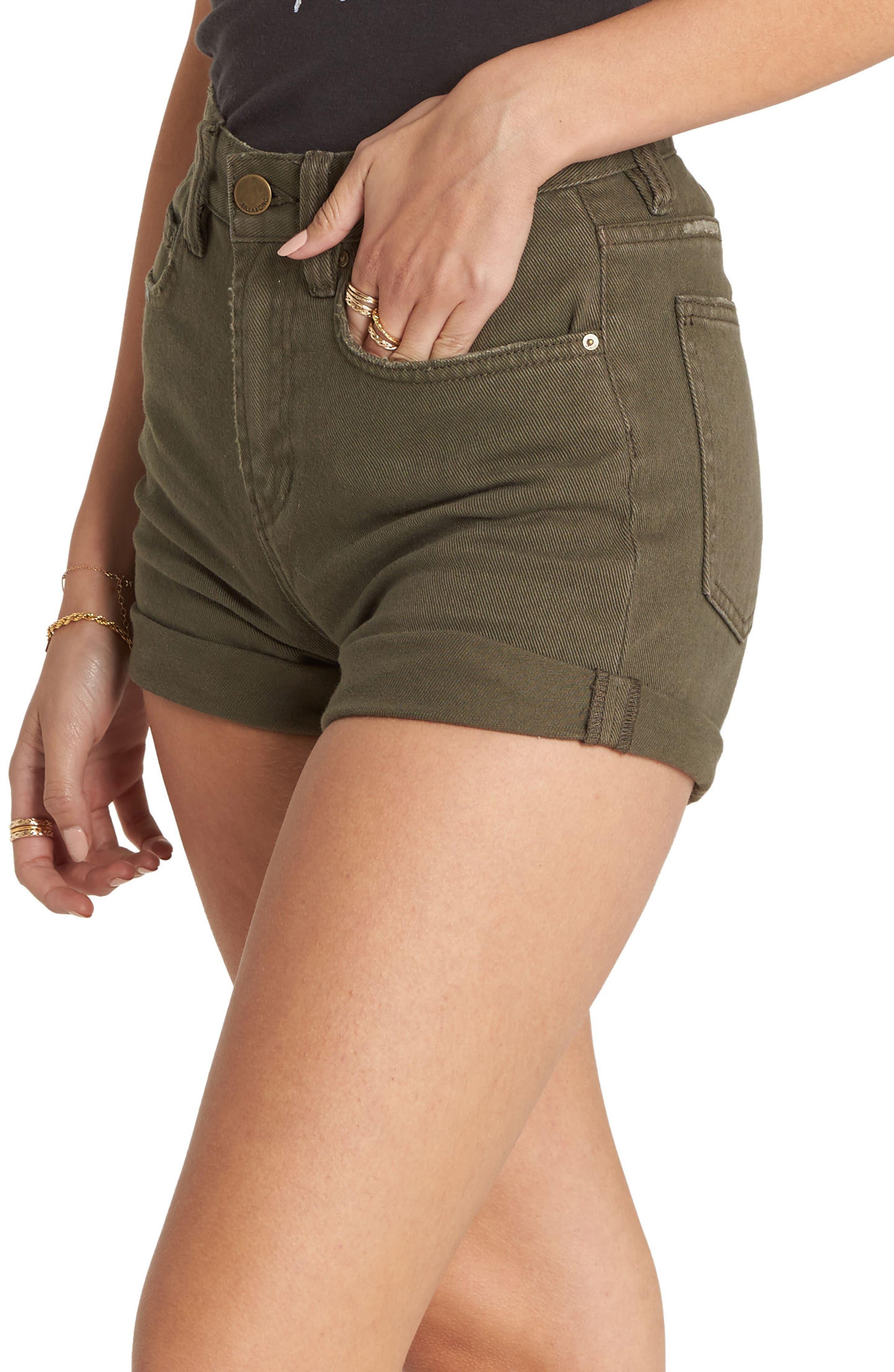 High Tide Denim Shorts,                             Alternate thumbnail 3, color,                             Olive