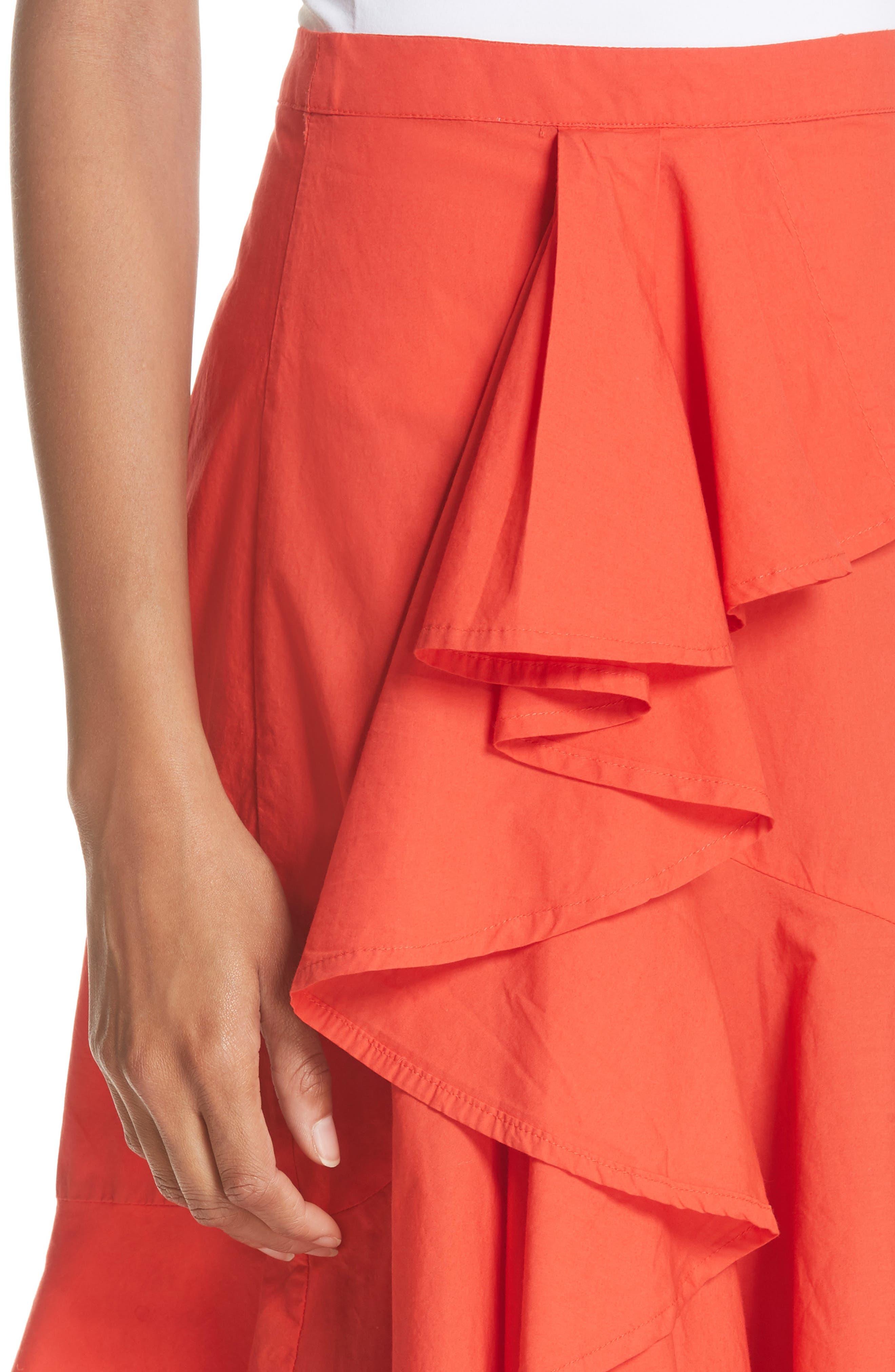Chesmu Ruffled Cotton Skirt,                             Alternate thumbnail 4, color,                             Salsa