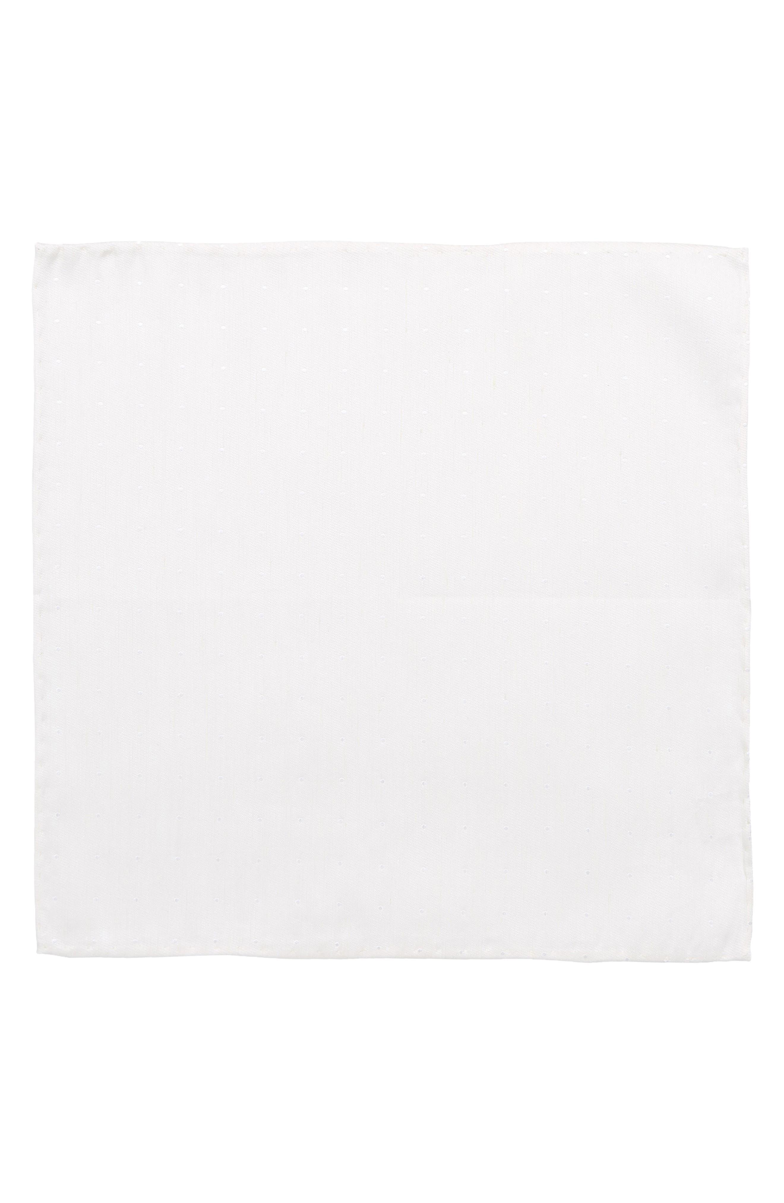 Bulletin Dot Silk & Linen Pocket Square,                             Alternate thumbnail 2, color,                             Ivory