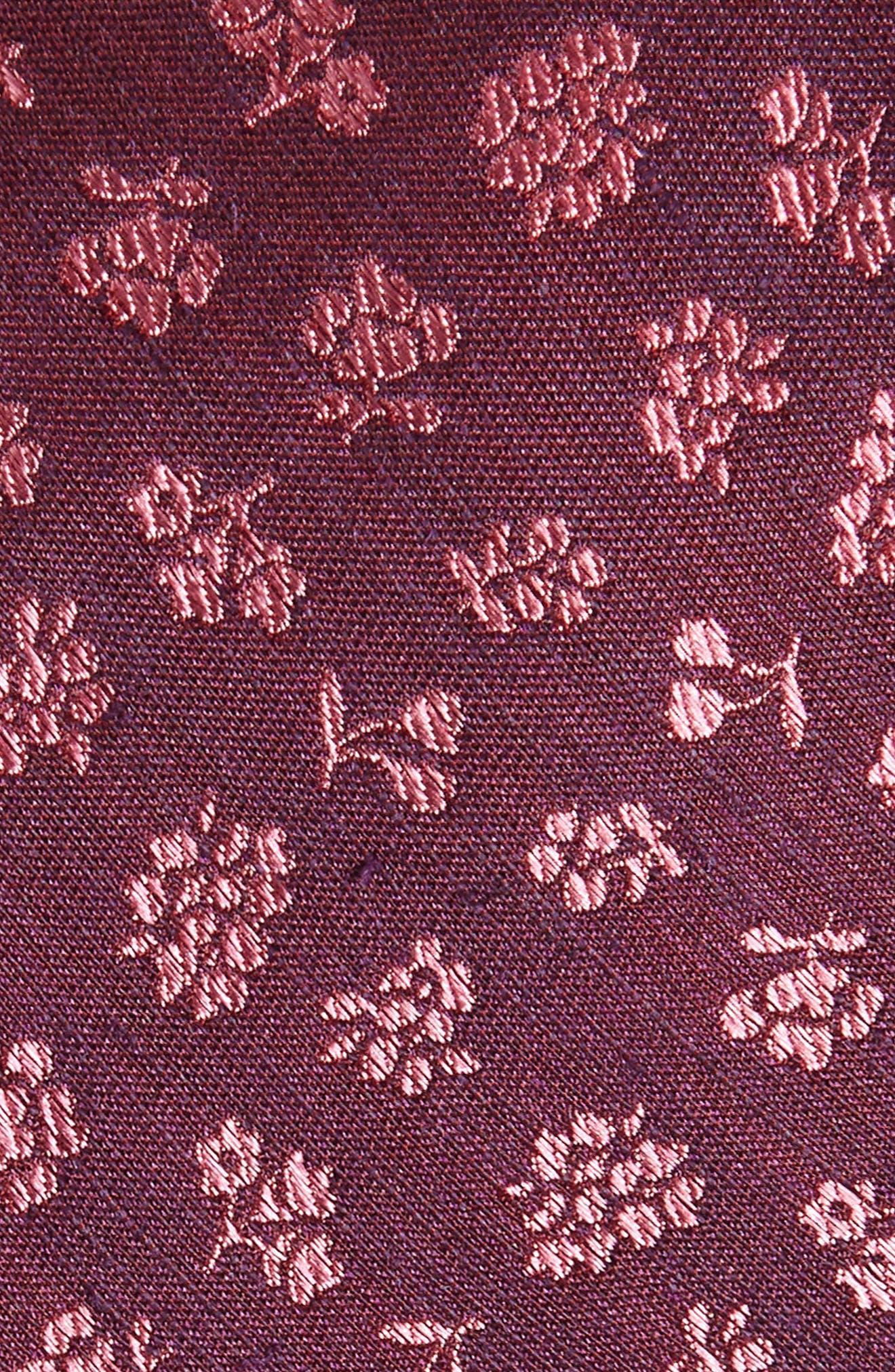 Fruta Floral Silk & Linen Tie,                             Alternate thumbnail 2, color,                             Wine
