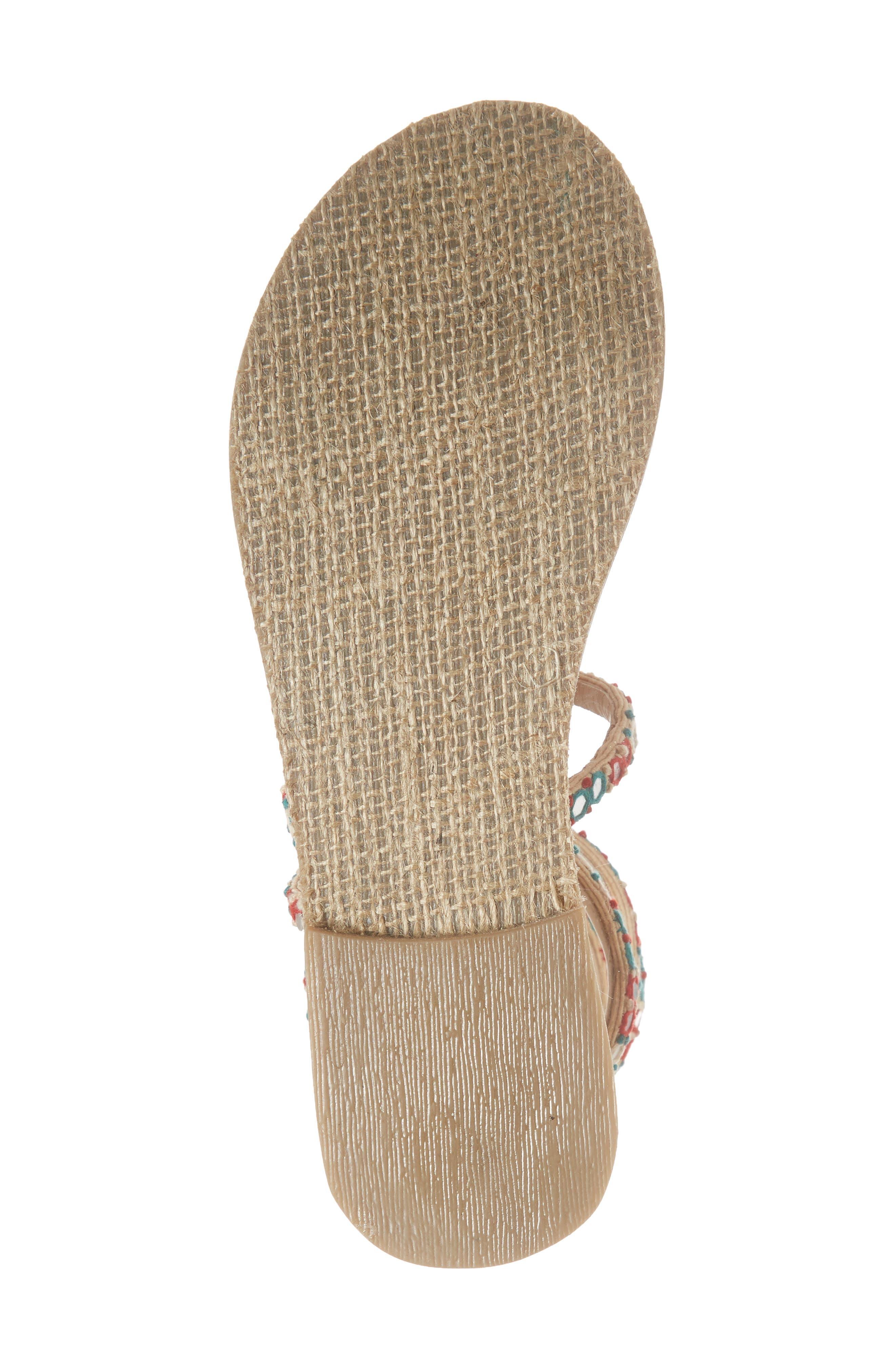 Havana Embellished Wraparound Gladiator Sandal,                             Alternate thumbnail 6, color,                             Natural