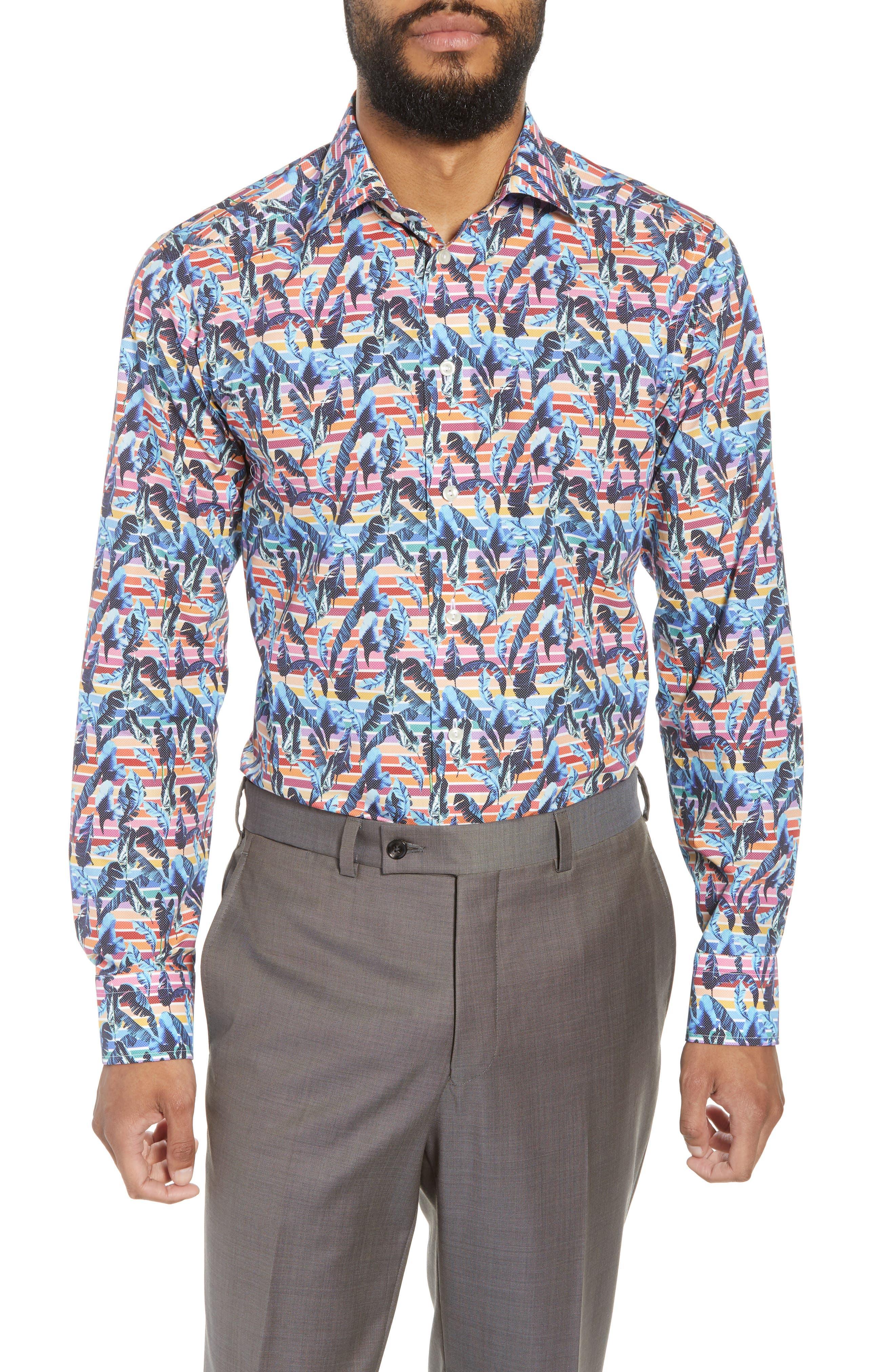 Slim Fit Print Dress Shirt,                             Main thumbnail 1, color,                             Red/ Blue