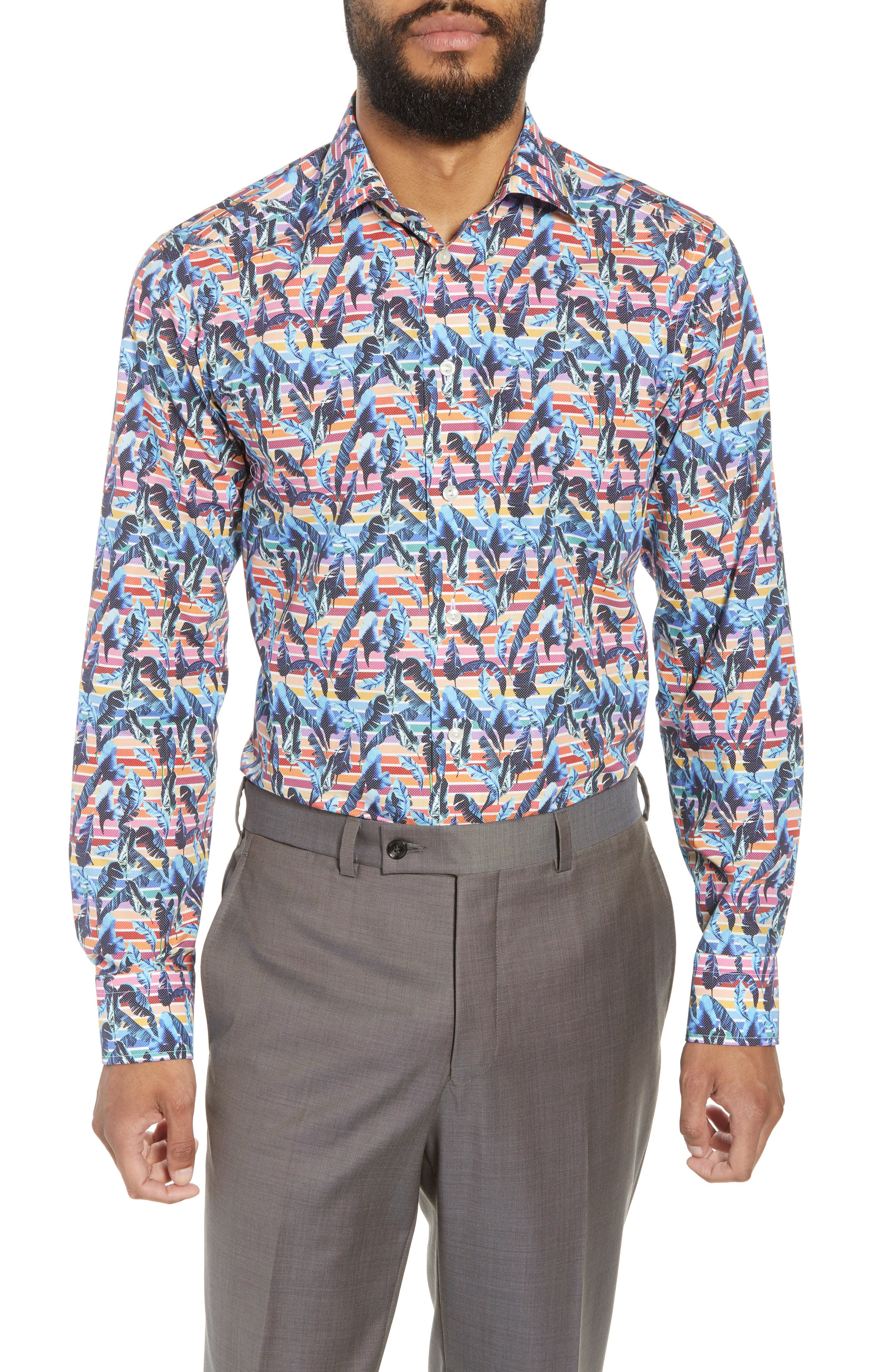 Slim Fit Print Dress Shirt,                         Main,                         color, Red/ Blue