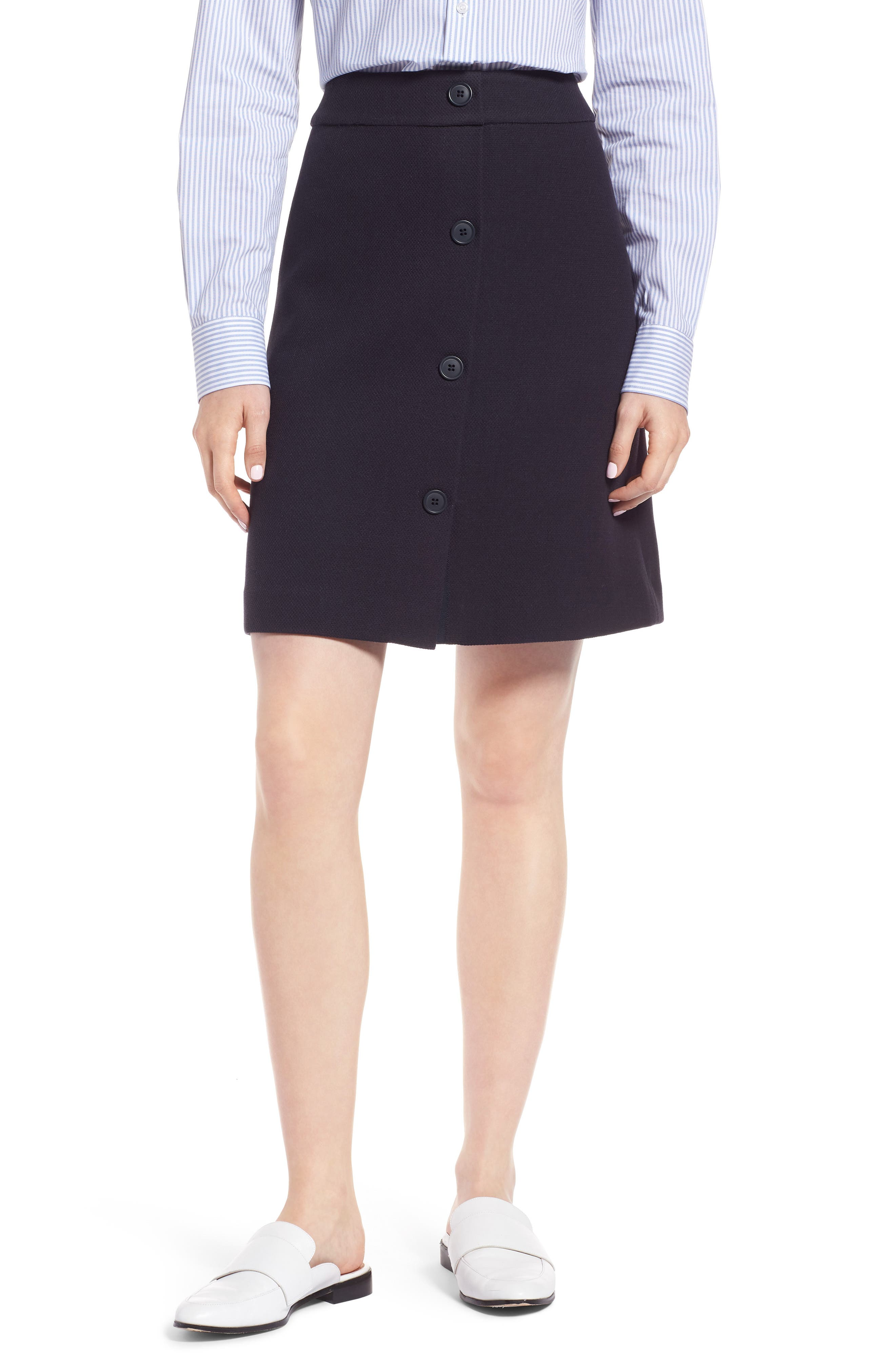 Button Front Skirt,                         Main,                         color, Navy Night
