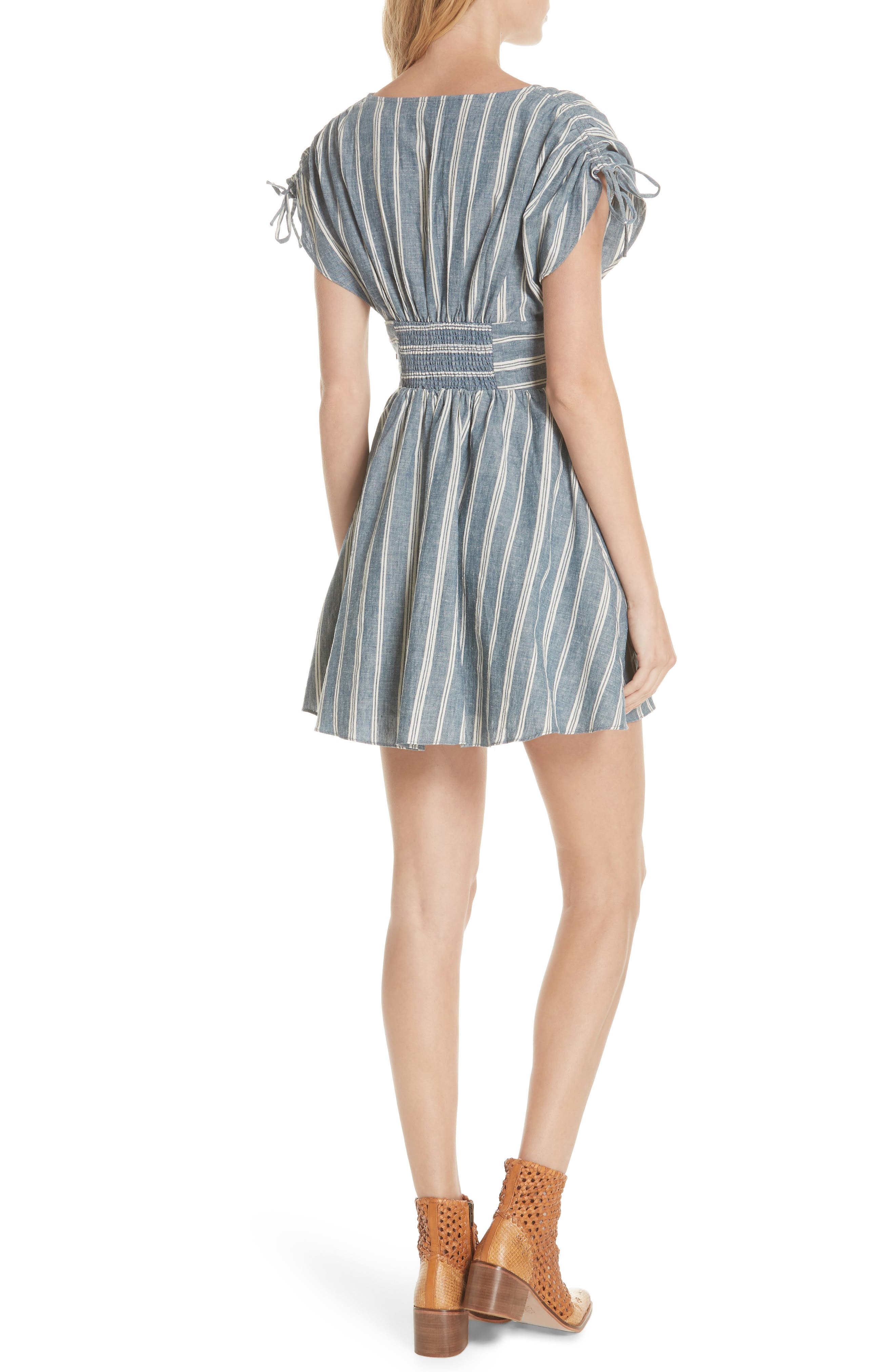 Roll the Dice Stripe Dress,                             Alternate thumbnail 2, color,                             Blue