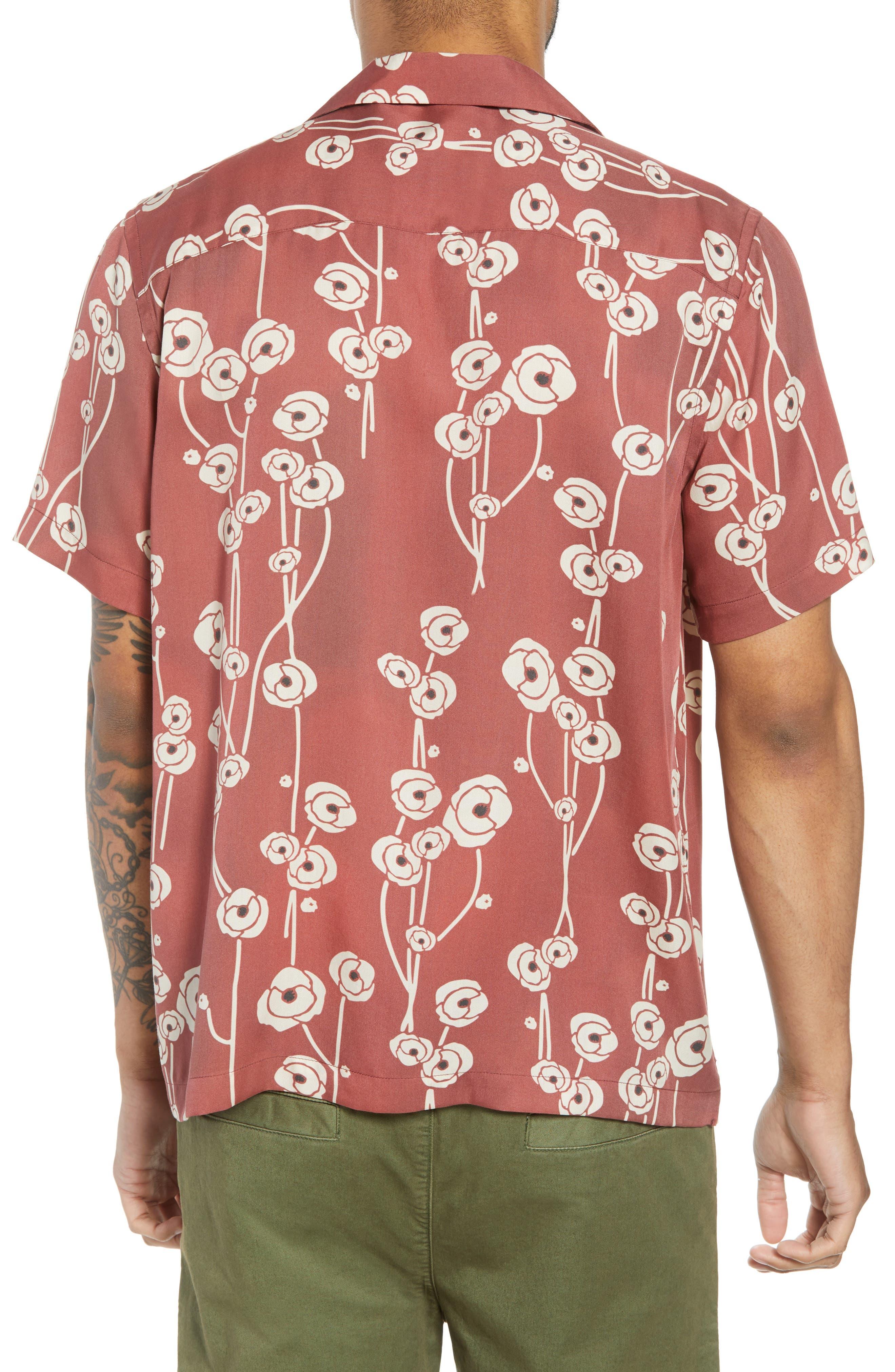 Canty Poppy Woven Shirt,                             Alternate thumbnail 4, color,                             Brick