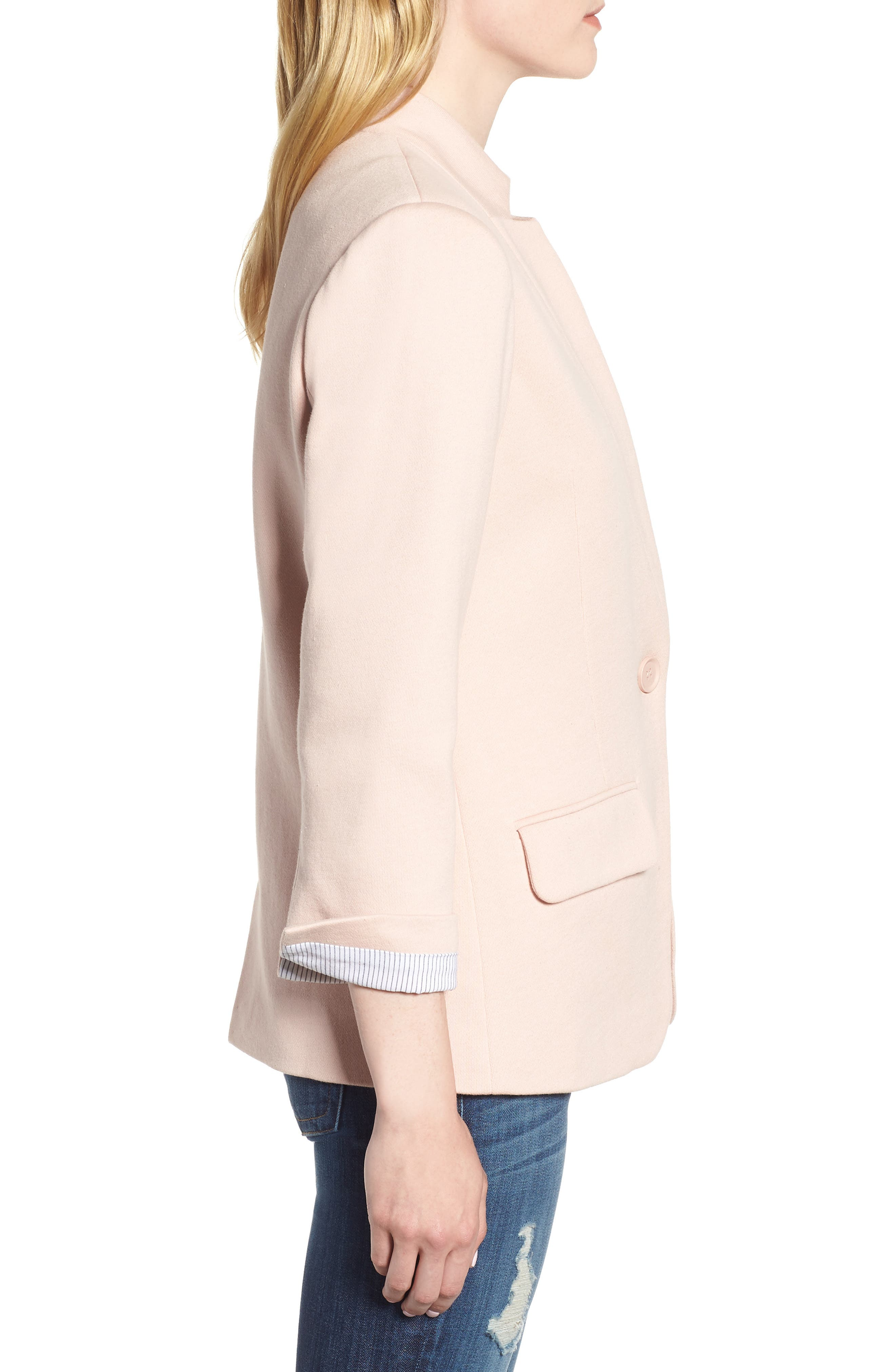 Cotton Blend Knit Blazer,                             Alternate thumbnail 3, color,                             Pink Smoke