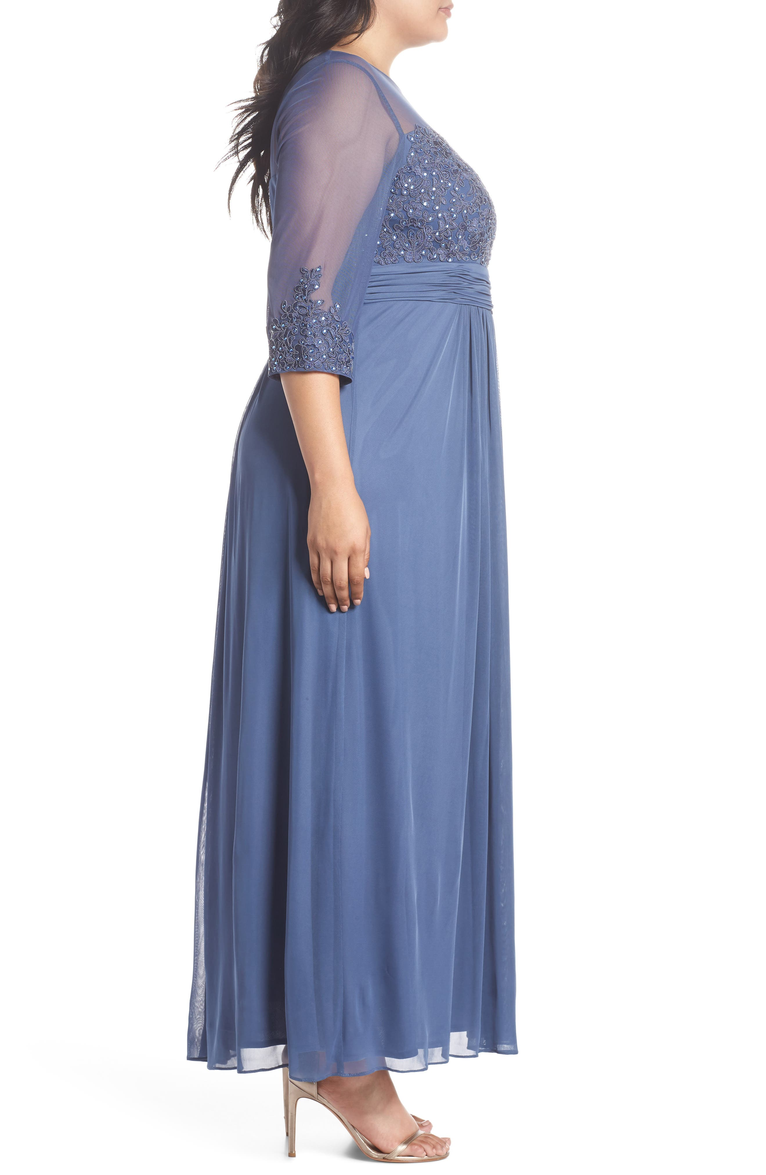 Embellished Illusion Sweetheart A-Line Gown,                             Alternate thumbnail 3, color,                             Violet