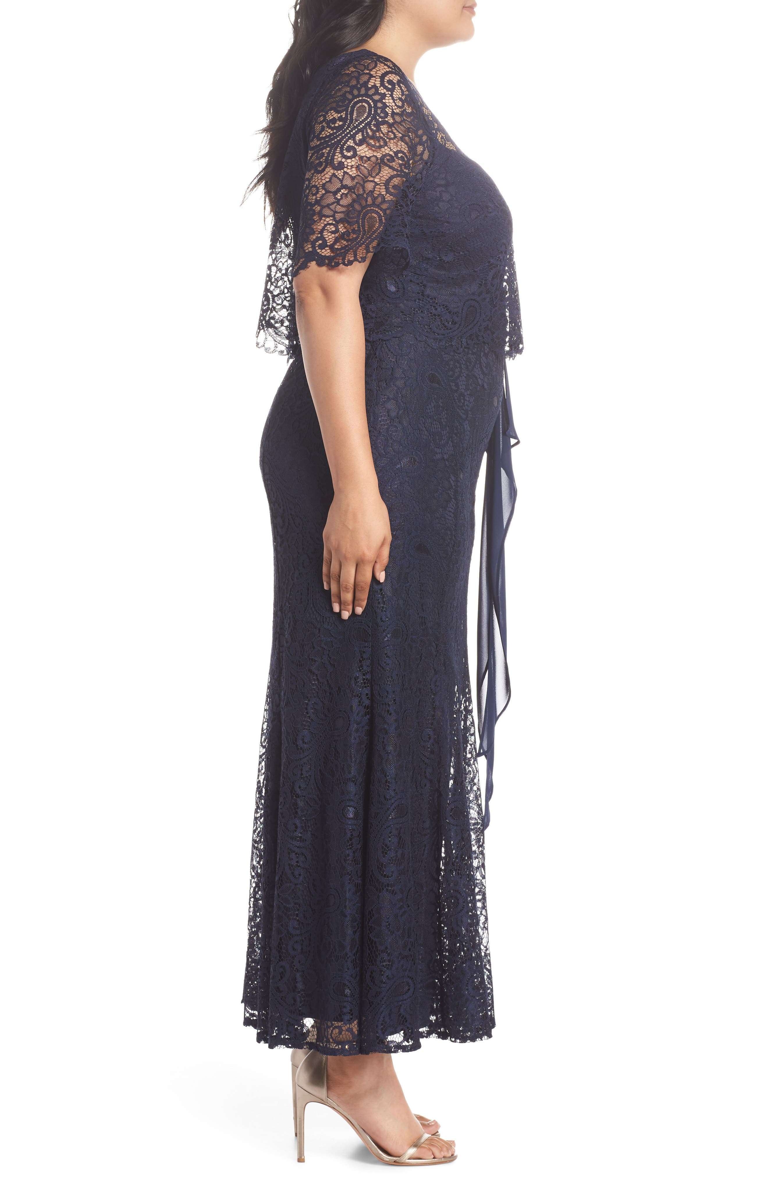 Mock Two-Piece Lace Gown,                             Alternate thumbnail 3, color,                             Navy