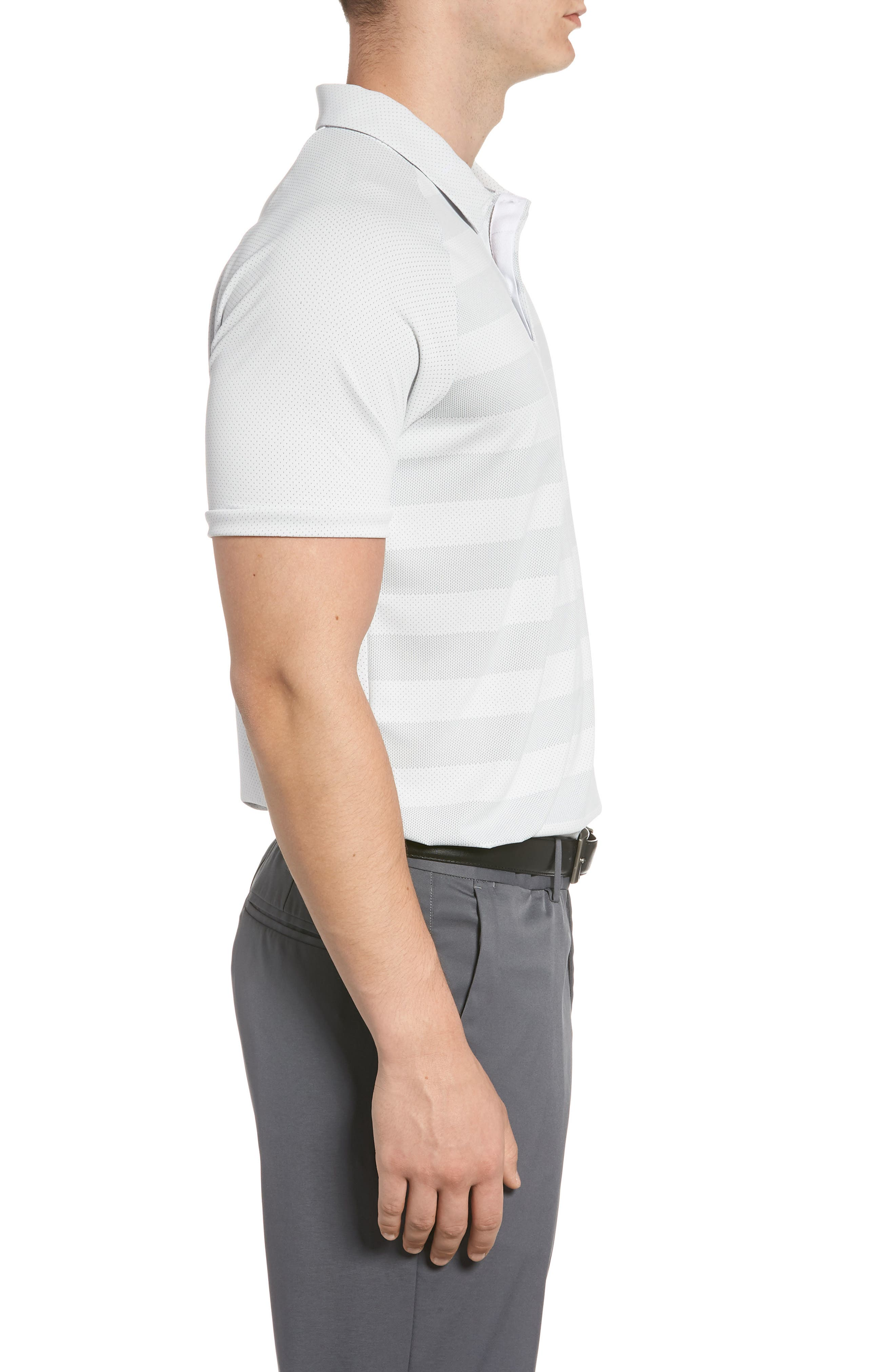 Stripe Polo Shirt,                             Alternate thumbnail 3, color,                             White/ Wolf Grey/ Silver