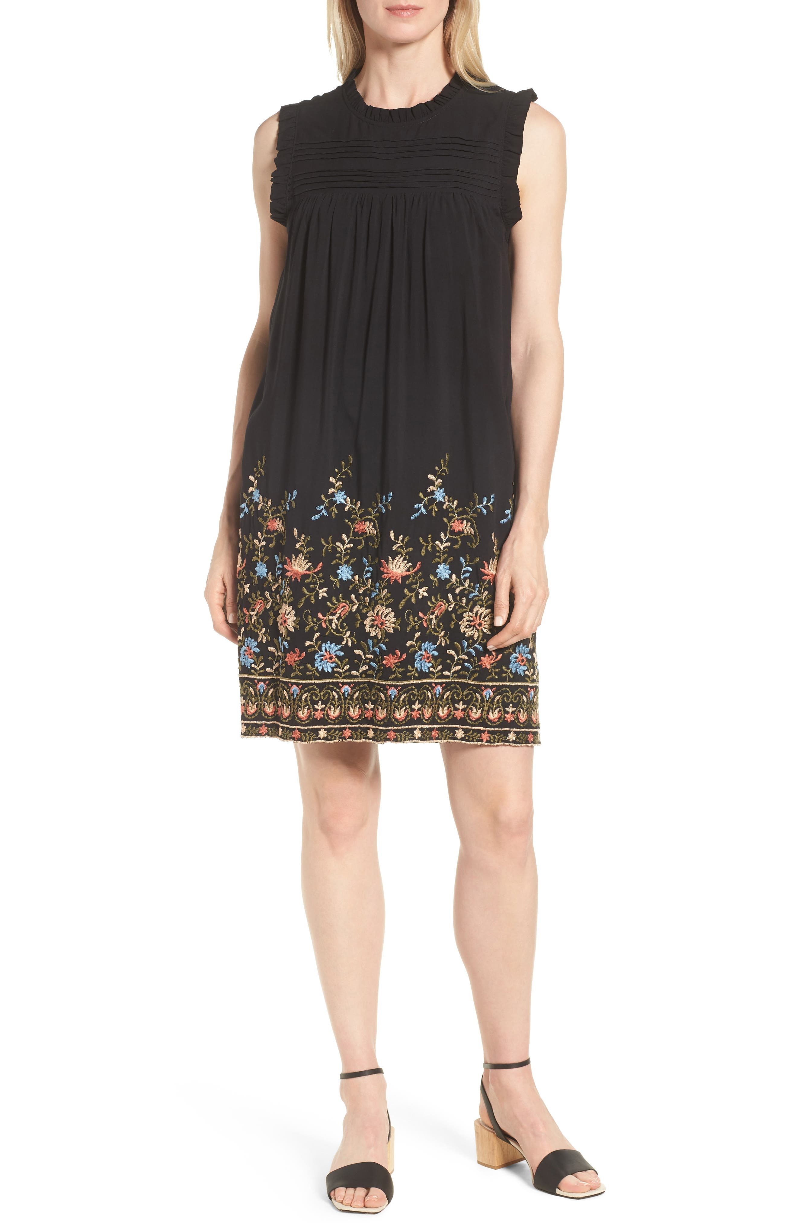 Pintuck Embroidered Shift Dress,                             Main thumbnail 1, color,                             Black Olive
