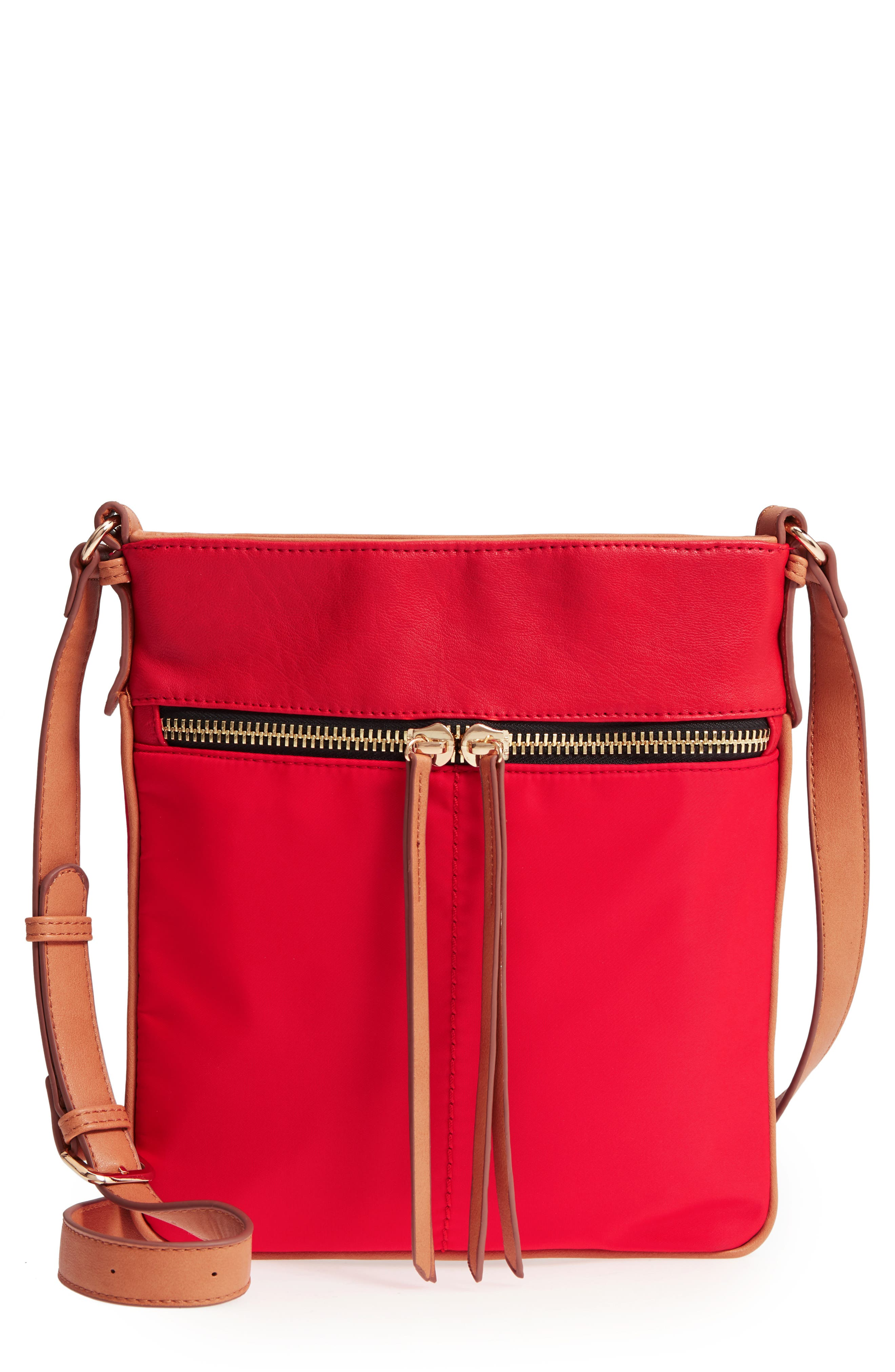 Nylon & Faux Leather Crossbody Bag,                             Main thumbnail 1, color,                             Red
