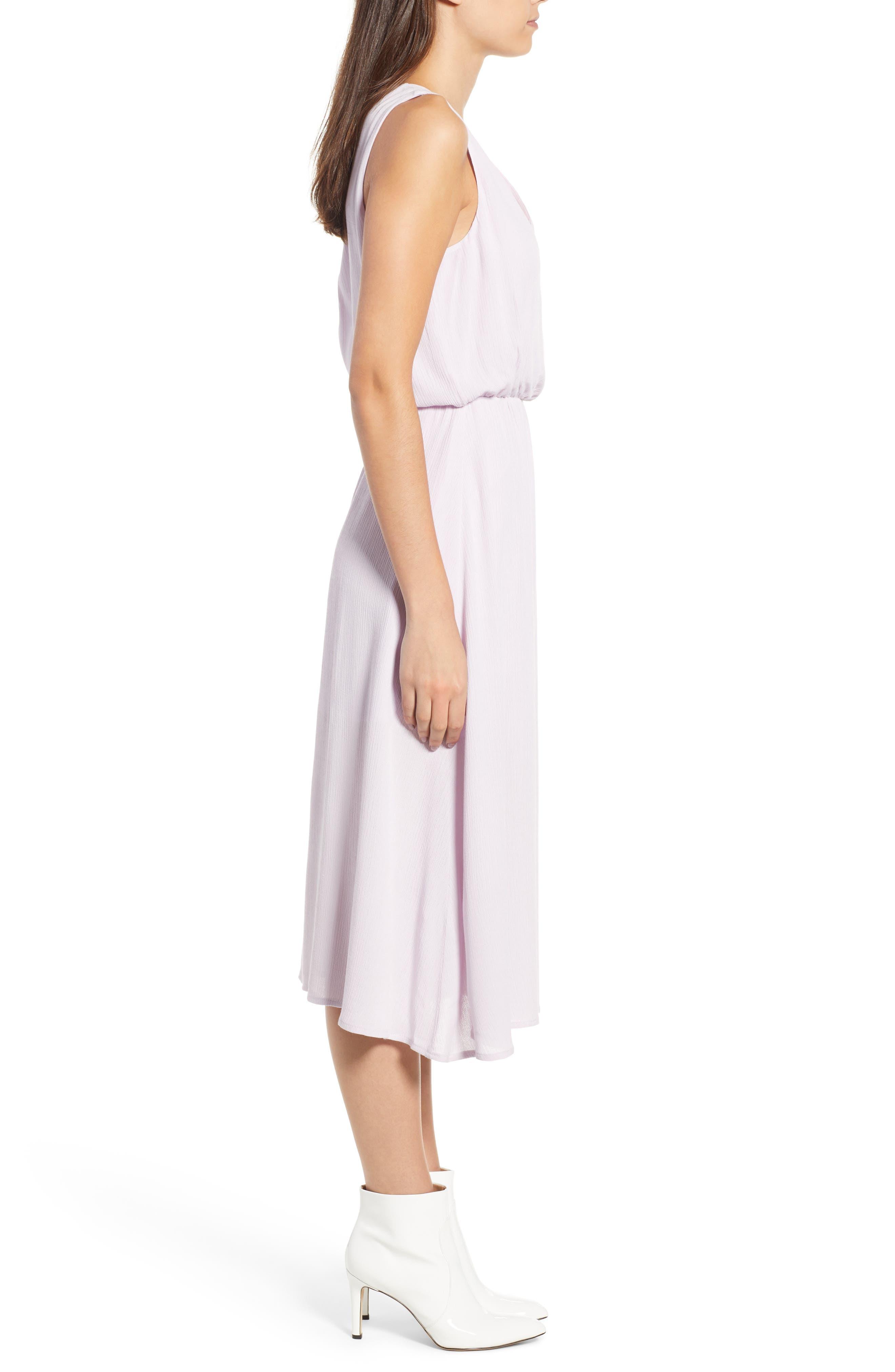 Sleeveless Blouson Midi Dress,                             Alternate thumbnail 3, color,                             Purple Moss
