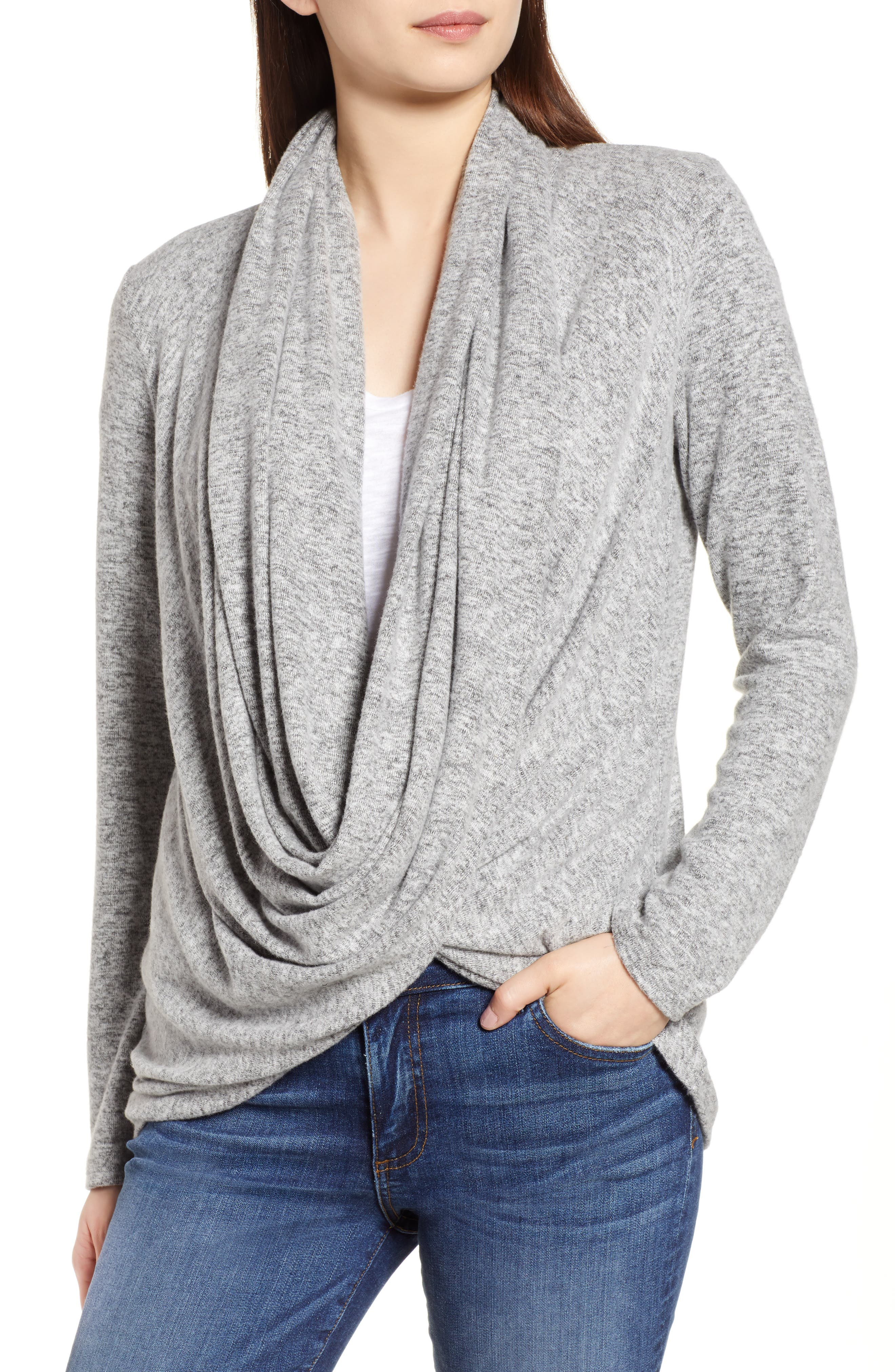 Convertible Cozy Fleece Wrap Cardigan,                         Main,                         color, Heather Grey