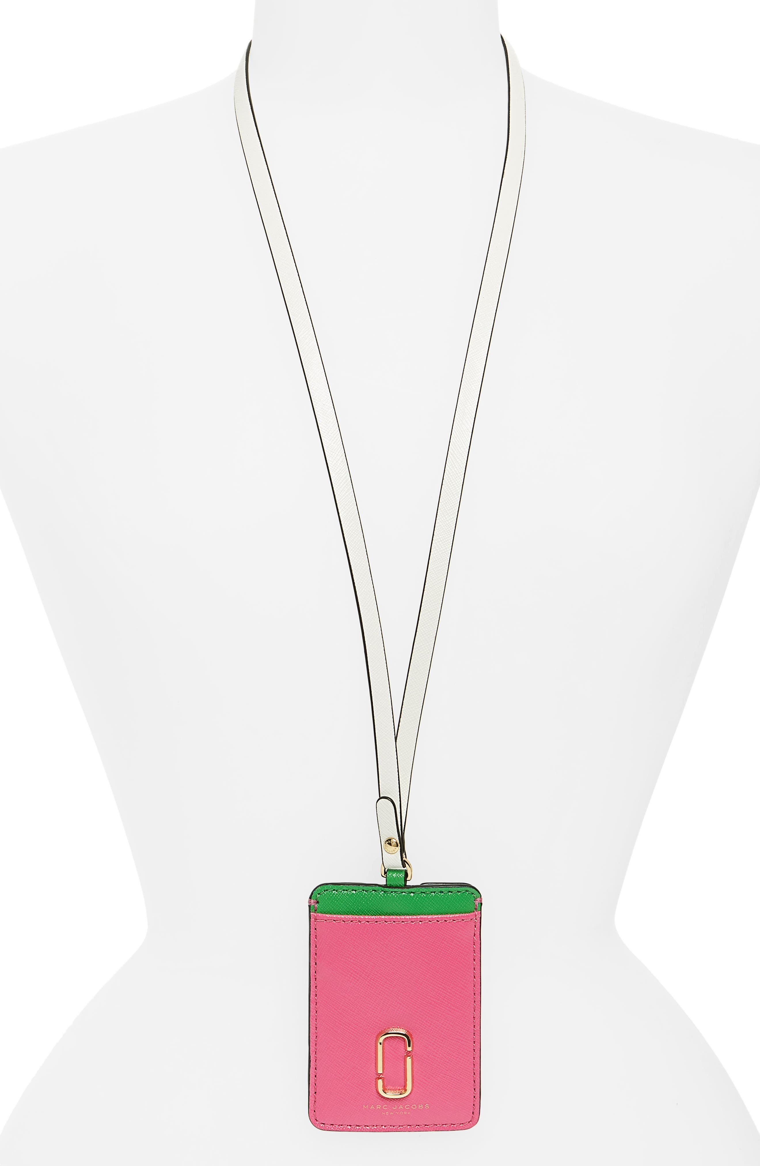 Snapshot Long Strap Leather Commuter Card Case,                             Main thumbnail 1, color,                             Vivid Pink Multi