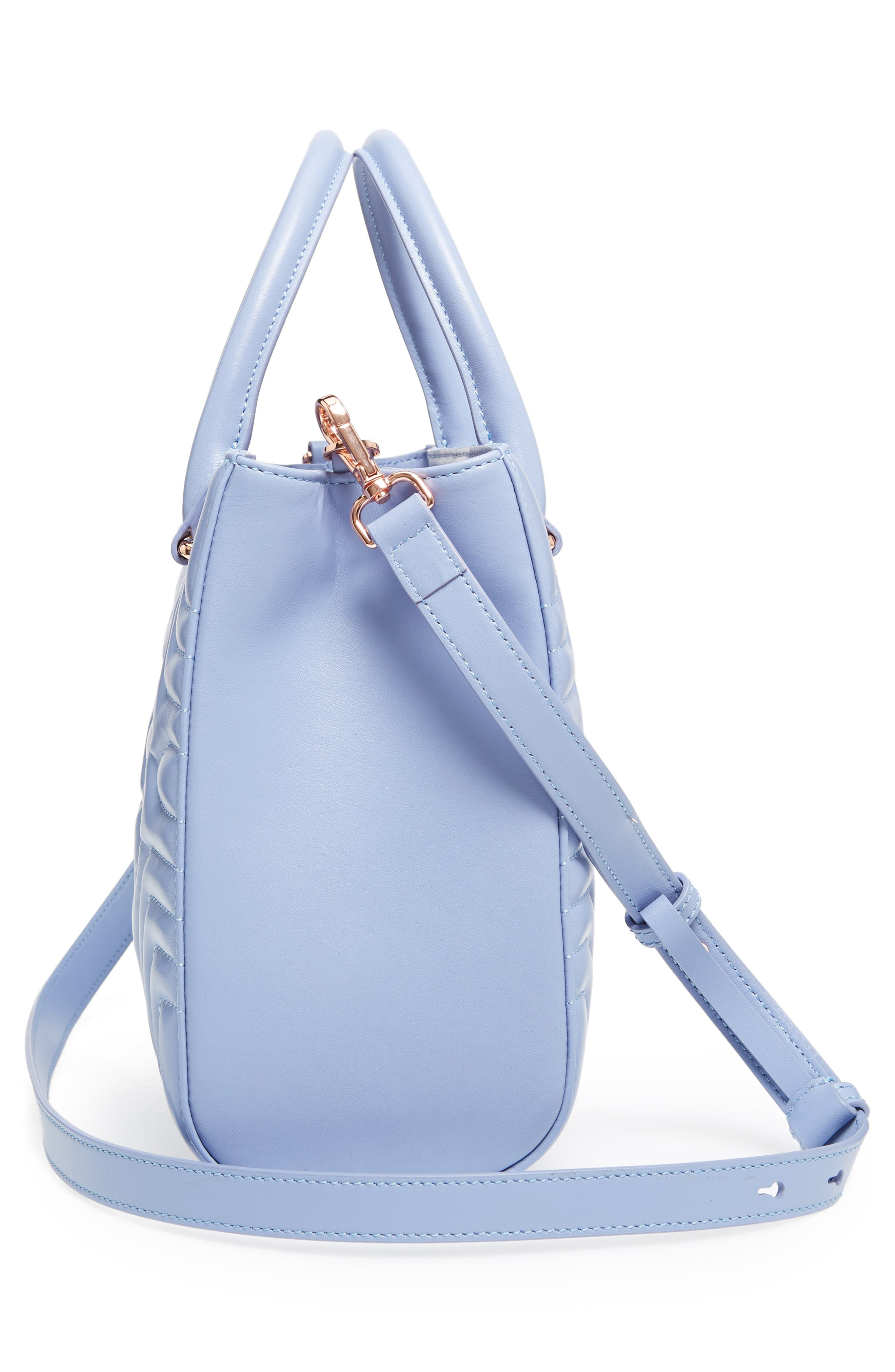 Quilted Bow Leather Tote,                             Alternate thumbnail 5, color,                             Blue