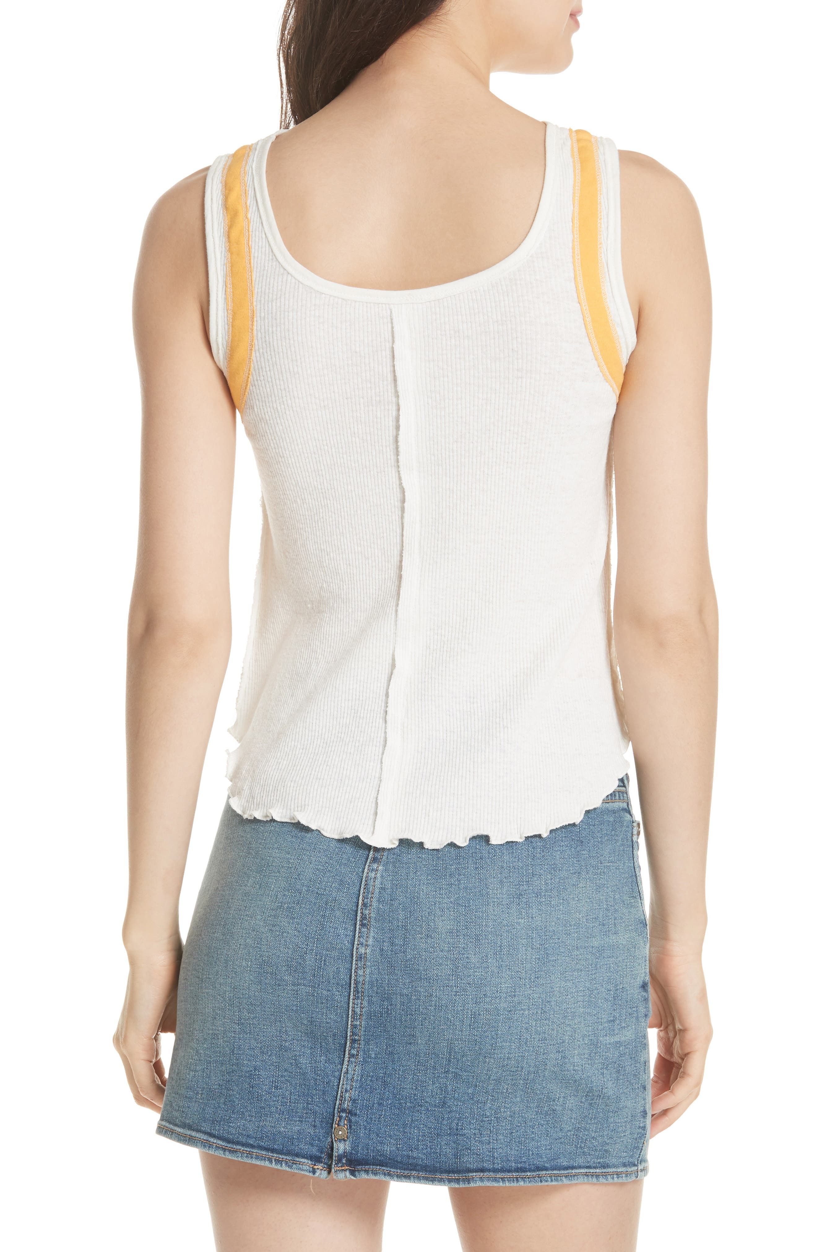 We the Free by Free People Mini Moto Graphic Tank,                             Alternate thumbnail 2, color,                             White