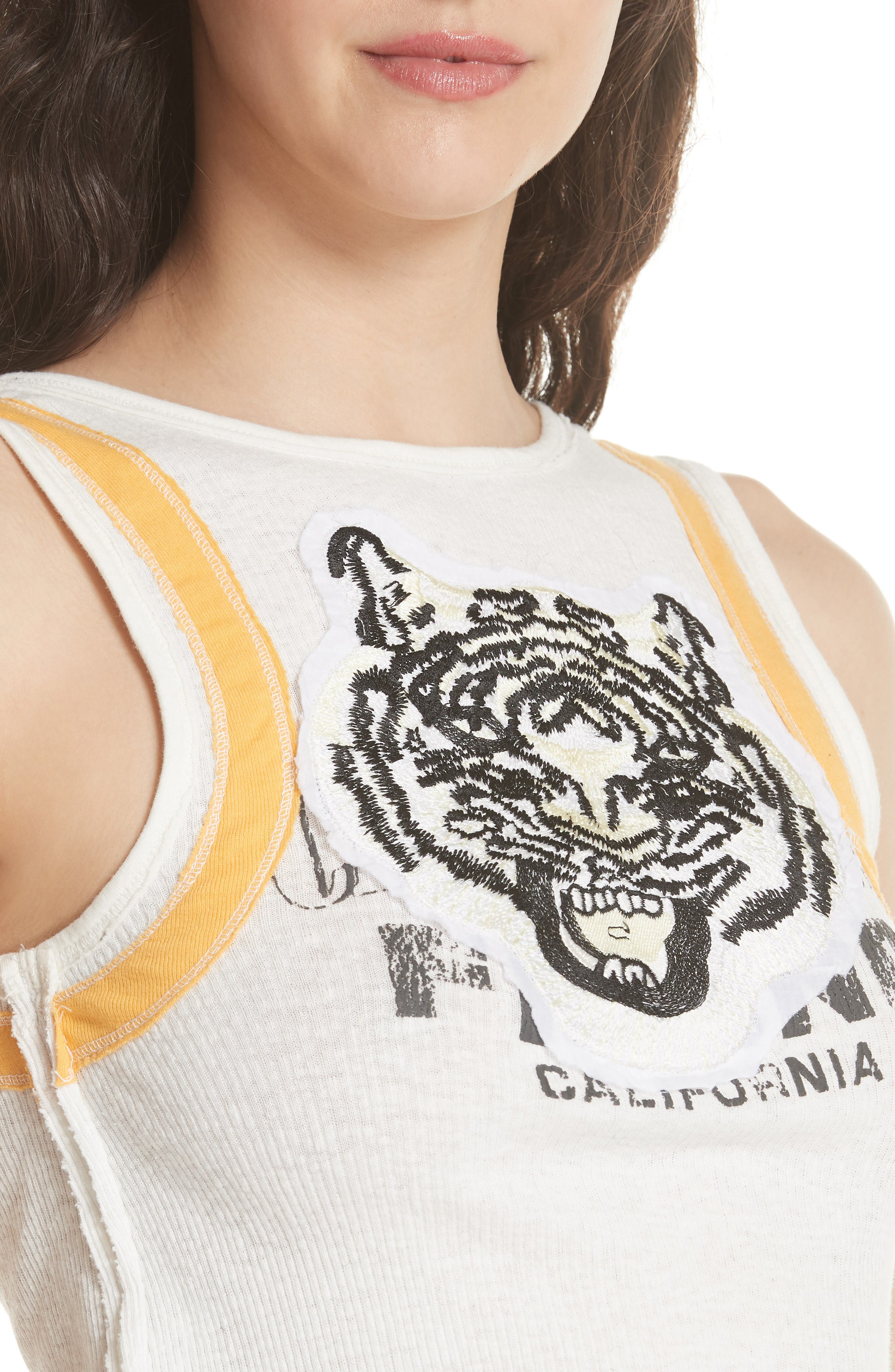We the Free by Free People Mini Moto Graphic Tank,                             Alternate thumbnail 5, color,                             White