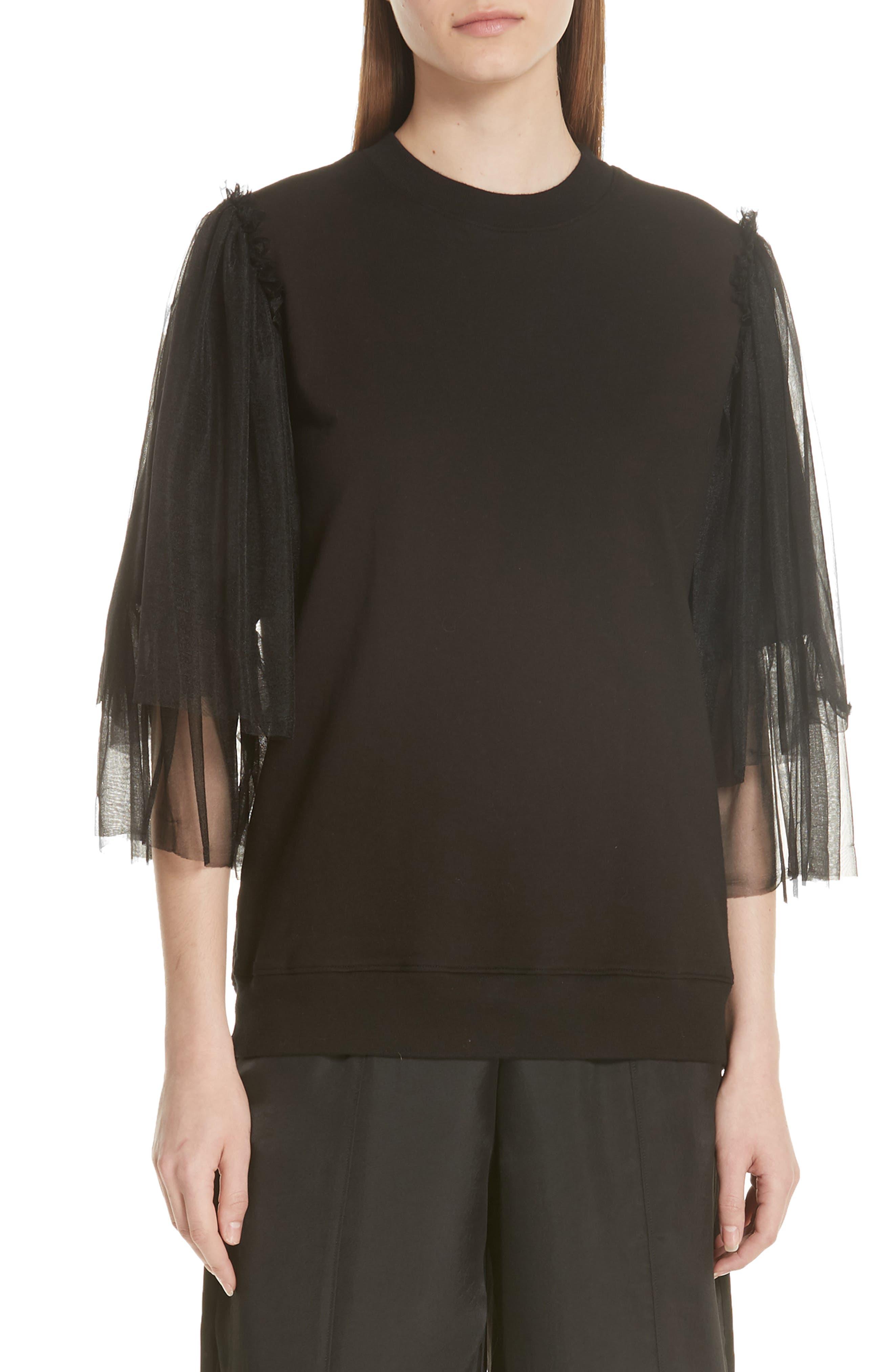 Tulle Sleeve Sweatshirt,                         Main,                         color, Black