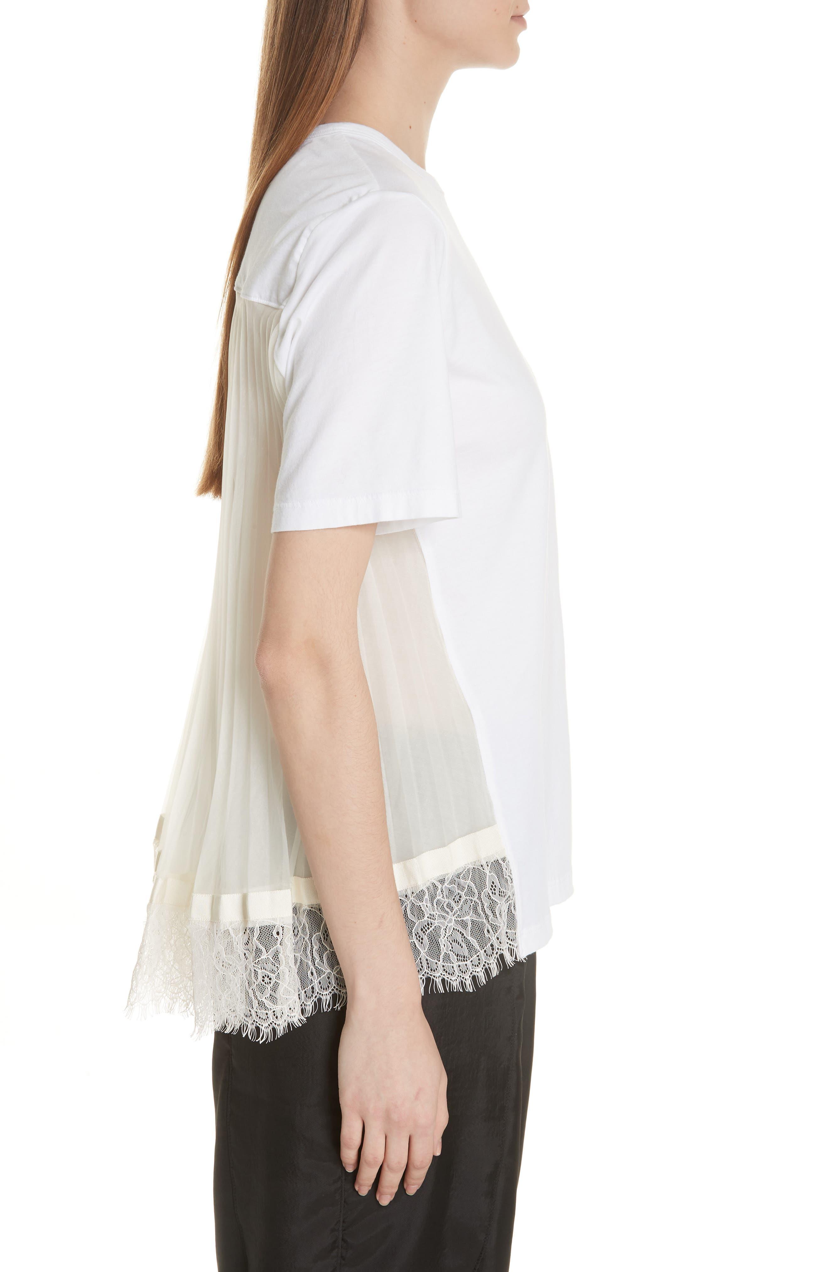 Lace Trim Pleat Back Top,                             Alternate thumbnail 5, color,                             White