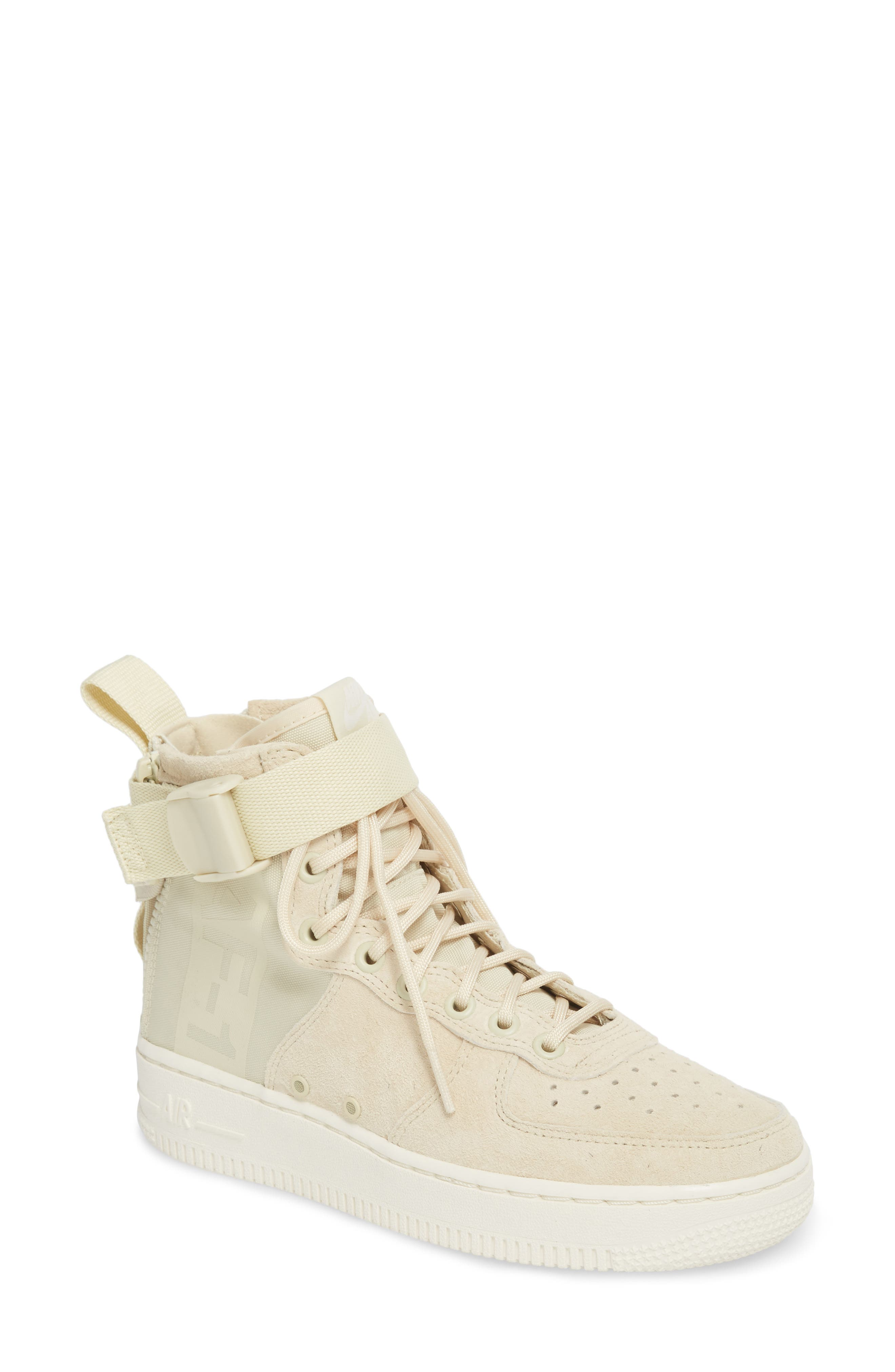 SF Air Force 1 Mid Sneaker,                             Main thumbnail 1, color,                             Fossil/ Sail