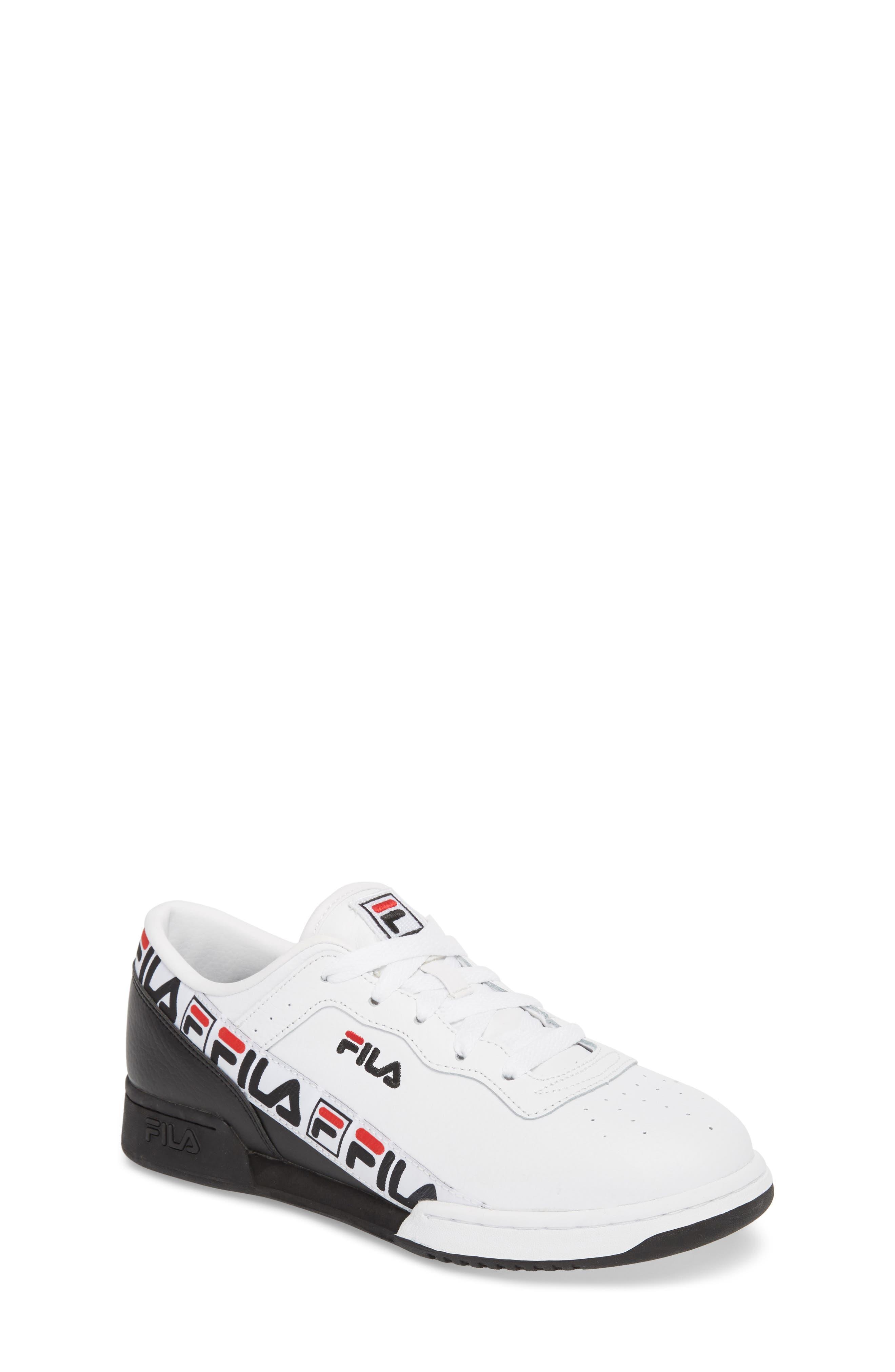 Original Fitness Logo Tape Sneaker,                             Main thumbnail 1, color,                             White/ Black/ Fila Red