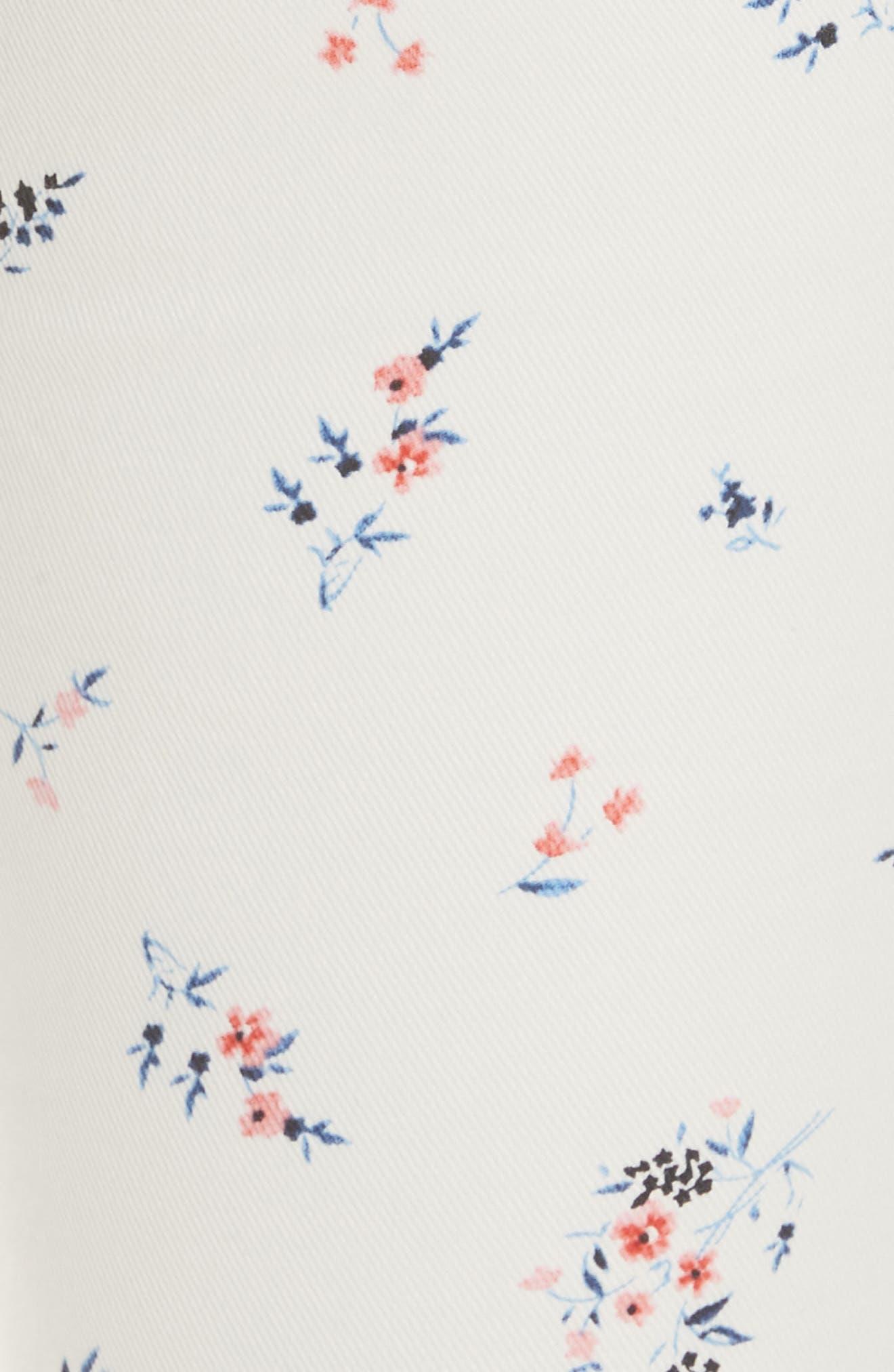 Park Floral Skinny Cargo Pants,                             Alternate thumbnail 5, color,                             Porcelain