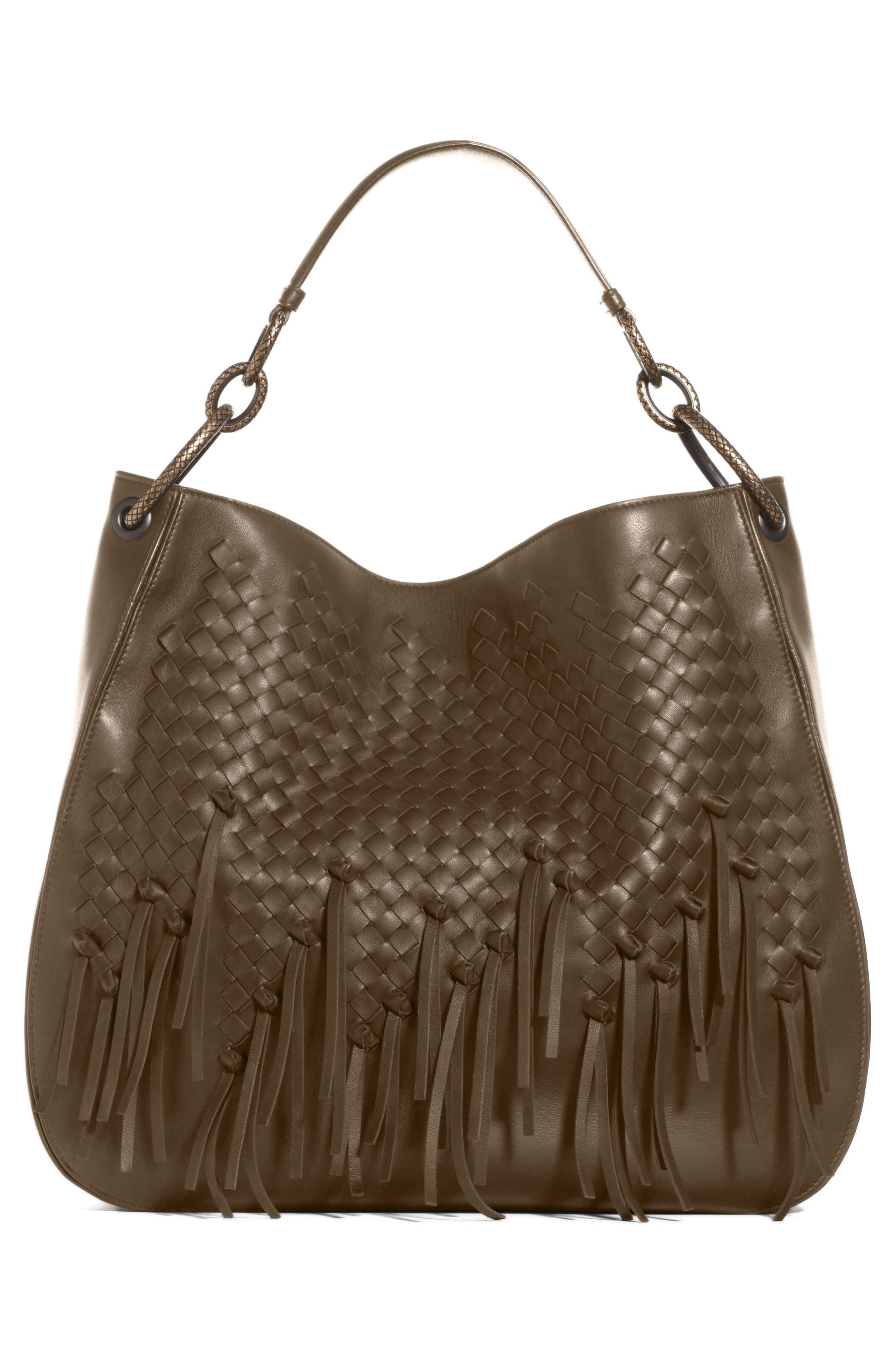 Bottega Veneta Large Loop Fringe Leather Hobo