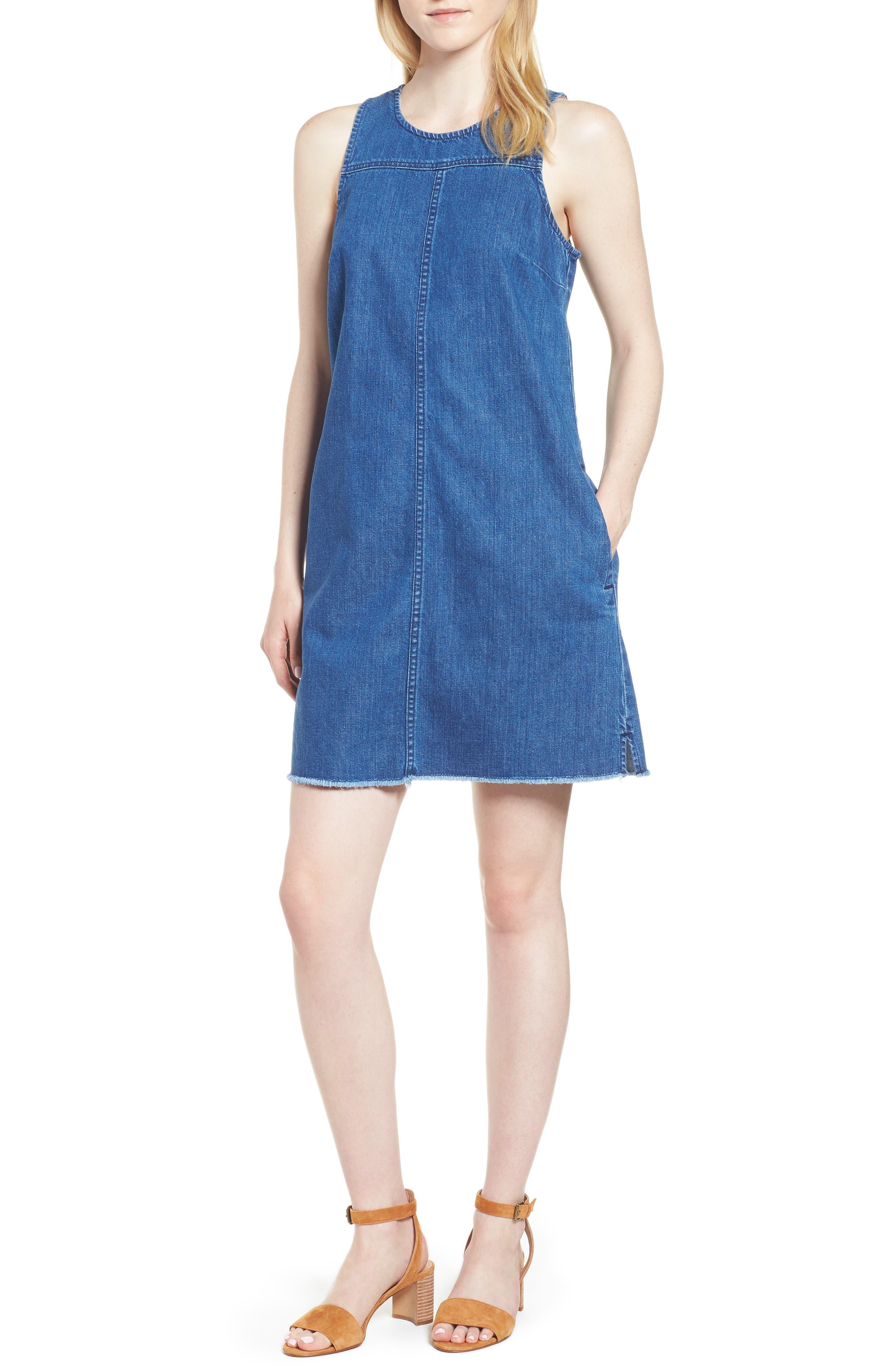 Raw Edge Hem Denim Shift Dress,                         Main,                         color, York Wash