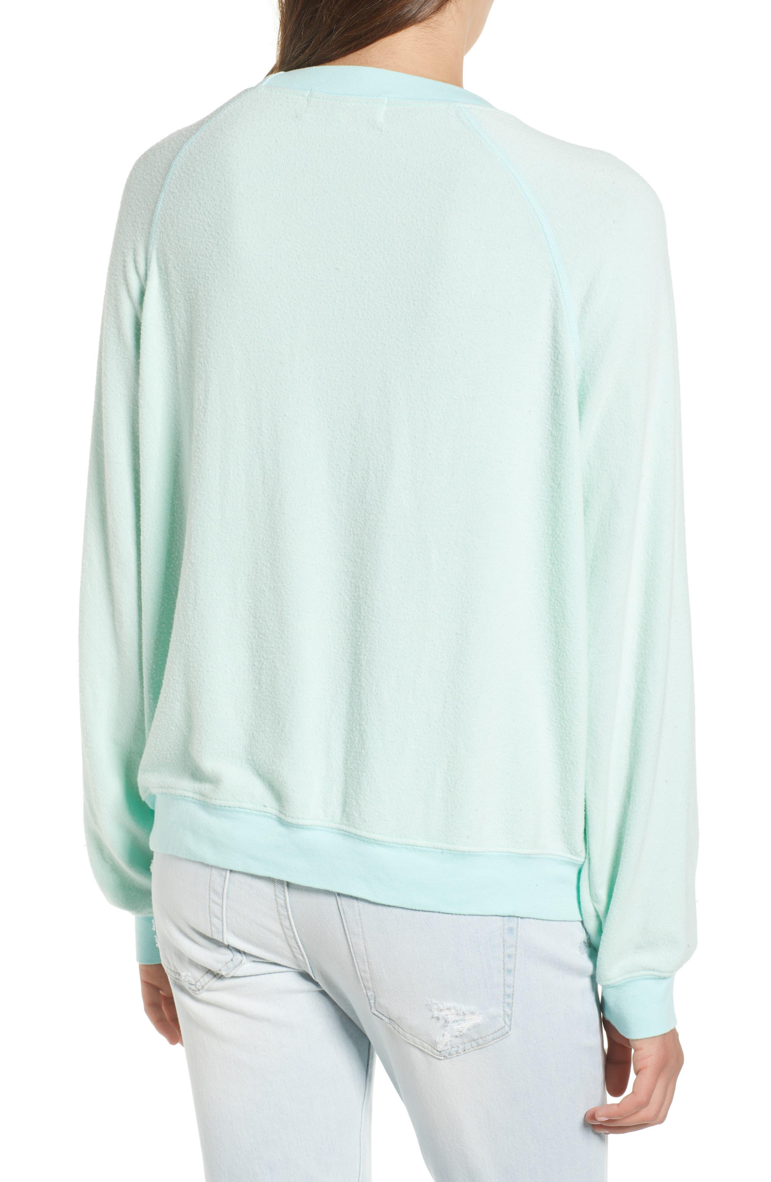 Be Happy Sweatshirt,                             Alternate thumbnail 2, color,                             Aqua Diver
