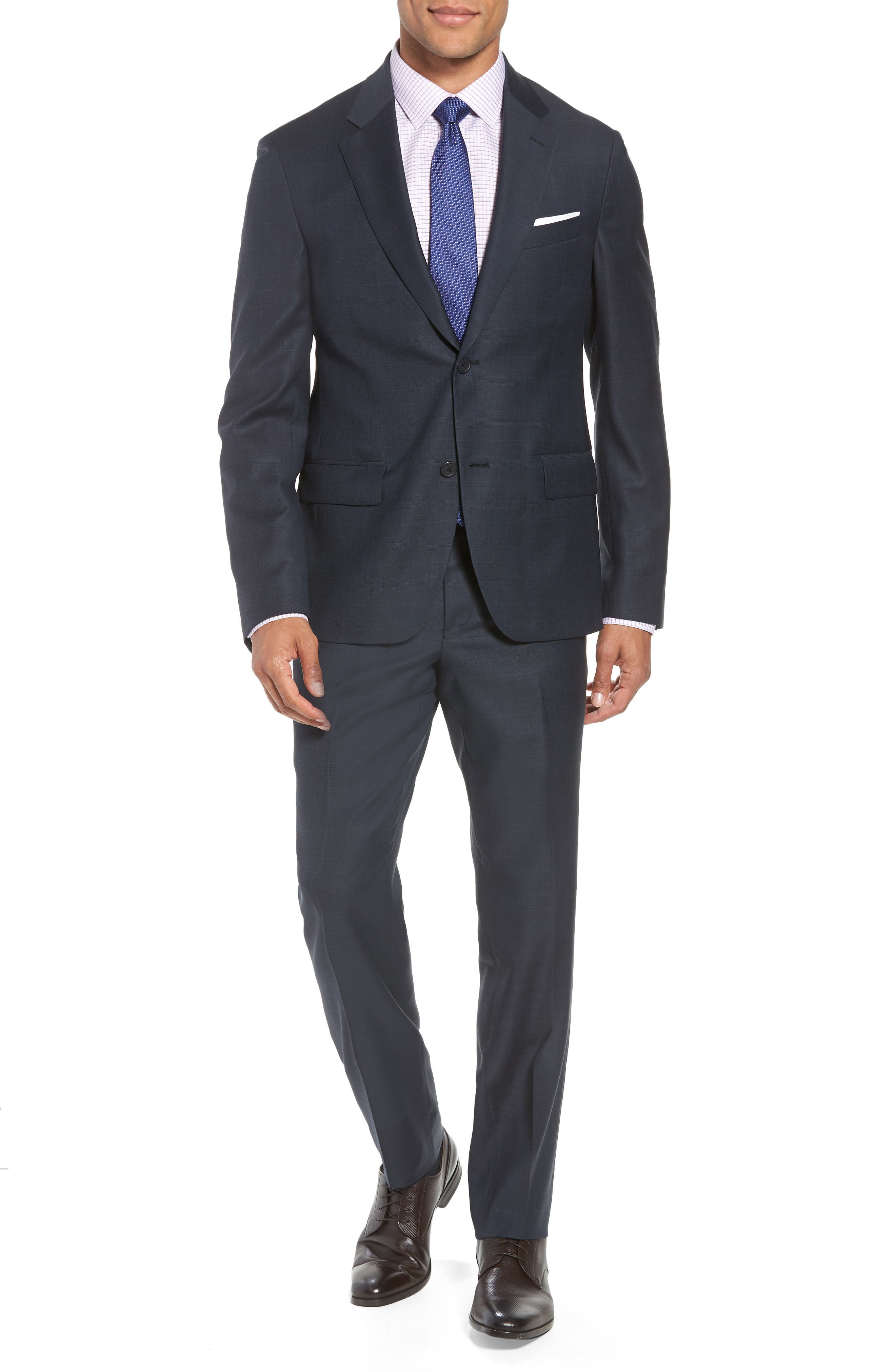 Trim Fit Plaid Wool Suit,                         Main,                         color, Navy