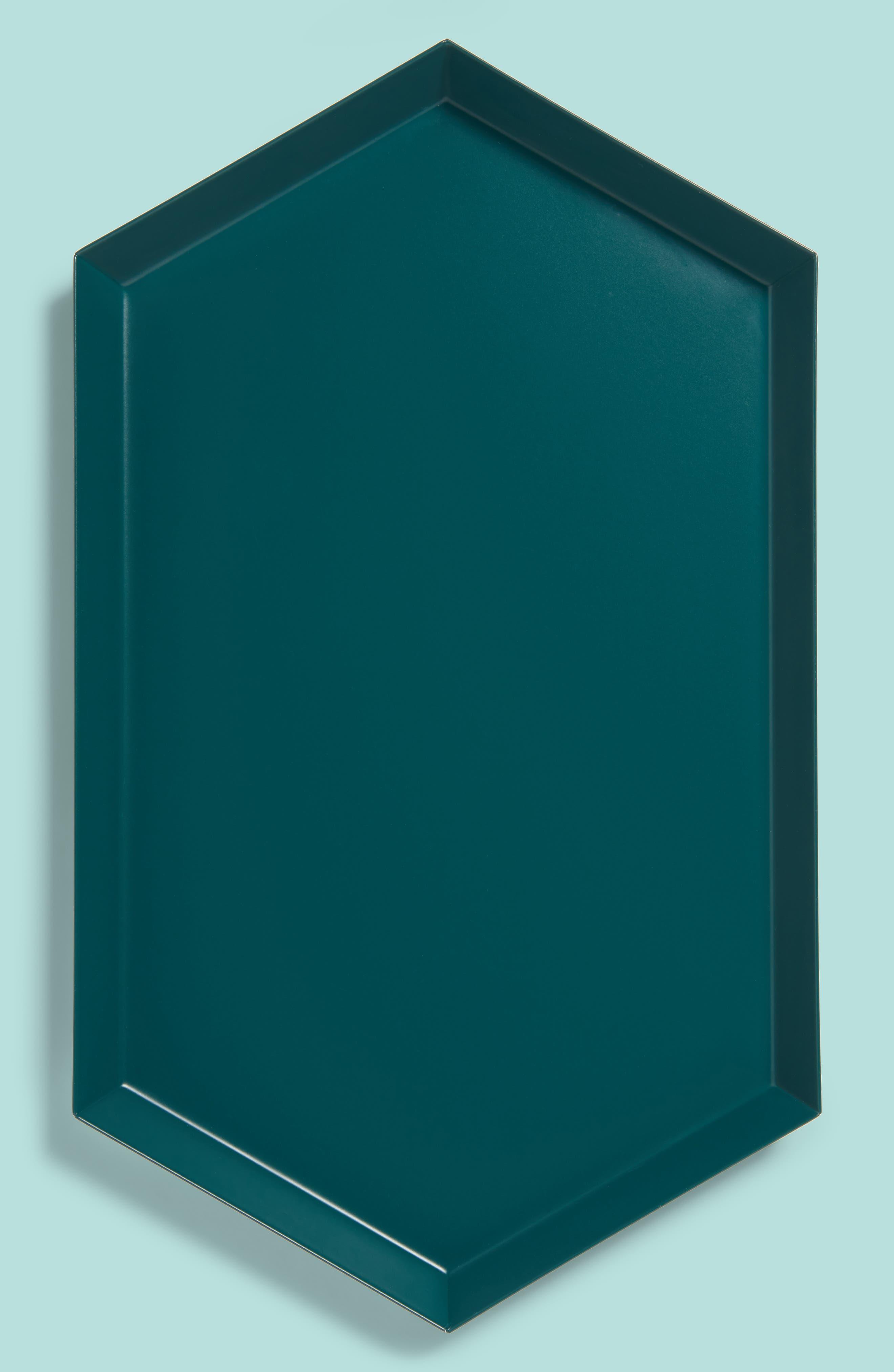 Medium Kaleido Powder Coated Steel Tray,                         Main,                         color, Dark Green
