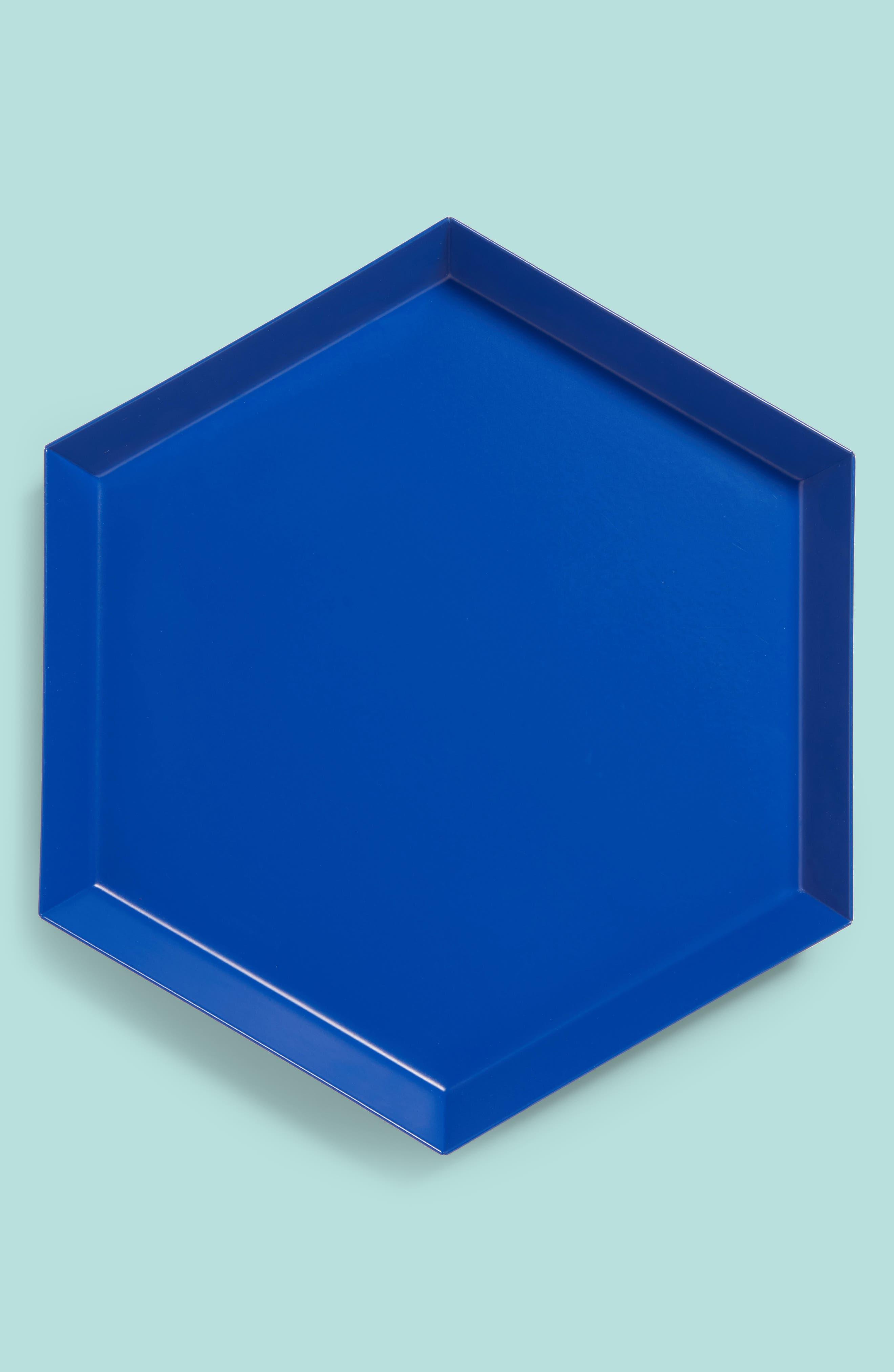 Small Kaleido Powder Coated Steel Tray,                             Main thumbnail 1, color,                             Royal Blue