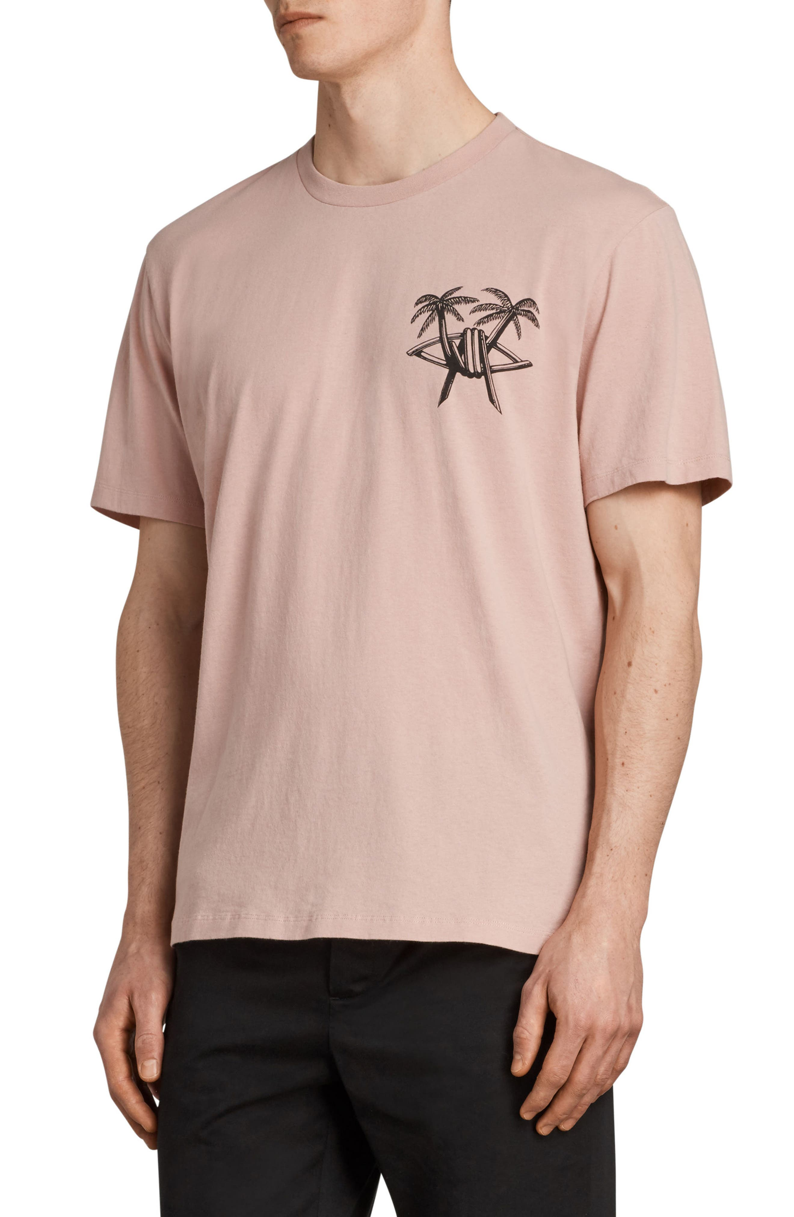 Barbed Palm Short Sleeve T-Shirt,                             Alternate thumbnail 3, color,                             Crepe Pink
