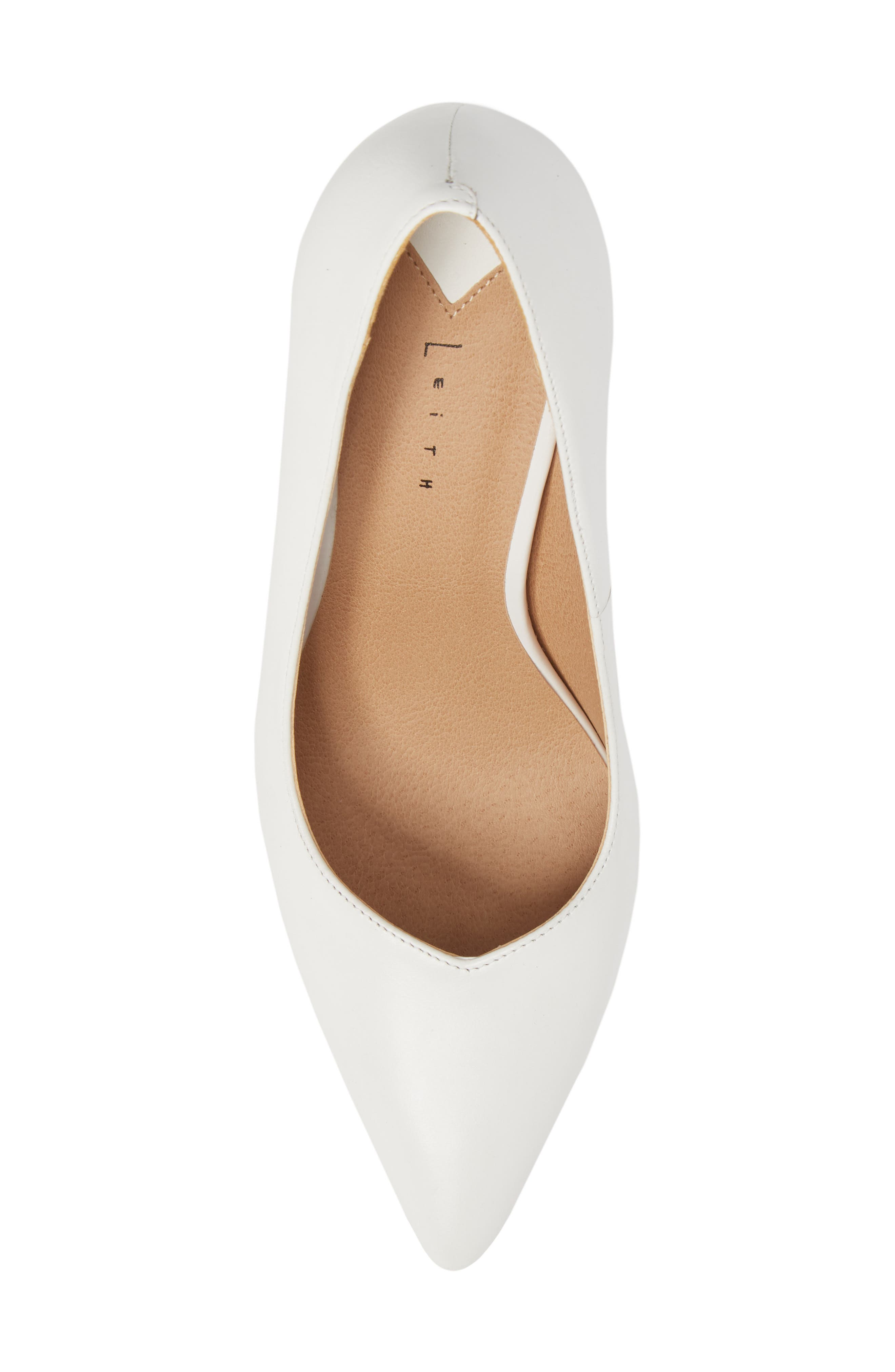 Palma Pointy Toe Pump,                             Alternate thumbnail 4, color,                             White Leather