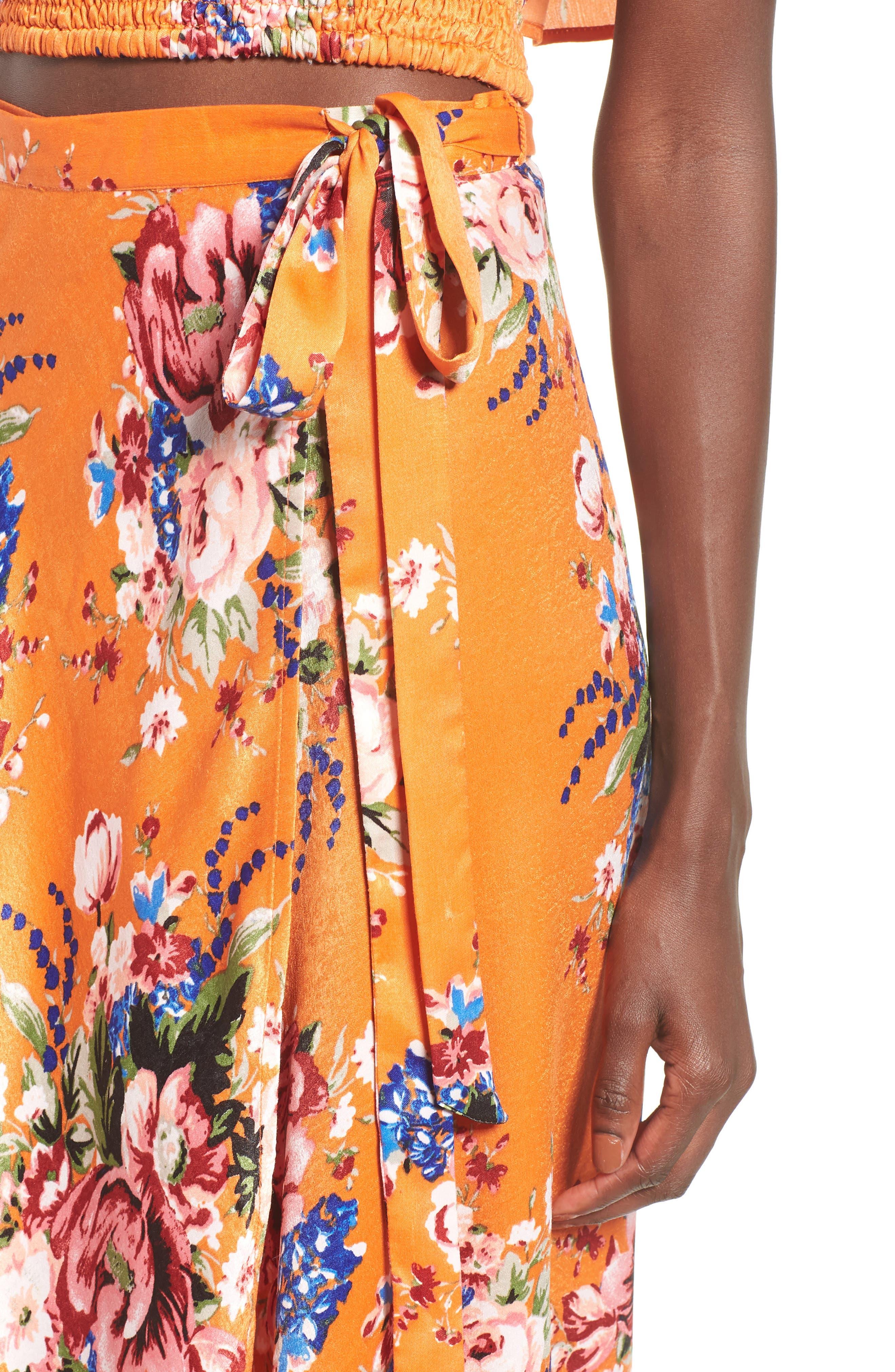 Zoey Satin Wrap Skirt,                             Alternate thumbnail 4, color,                             Orange Rose
