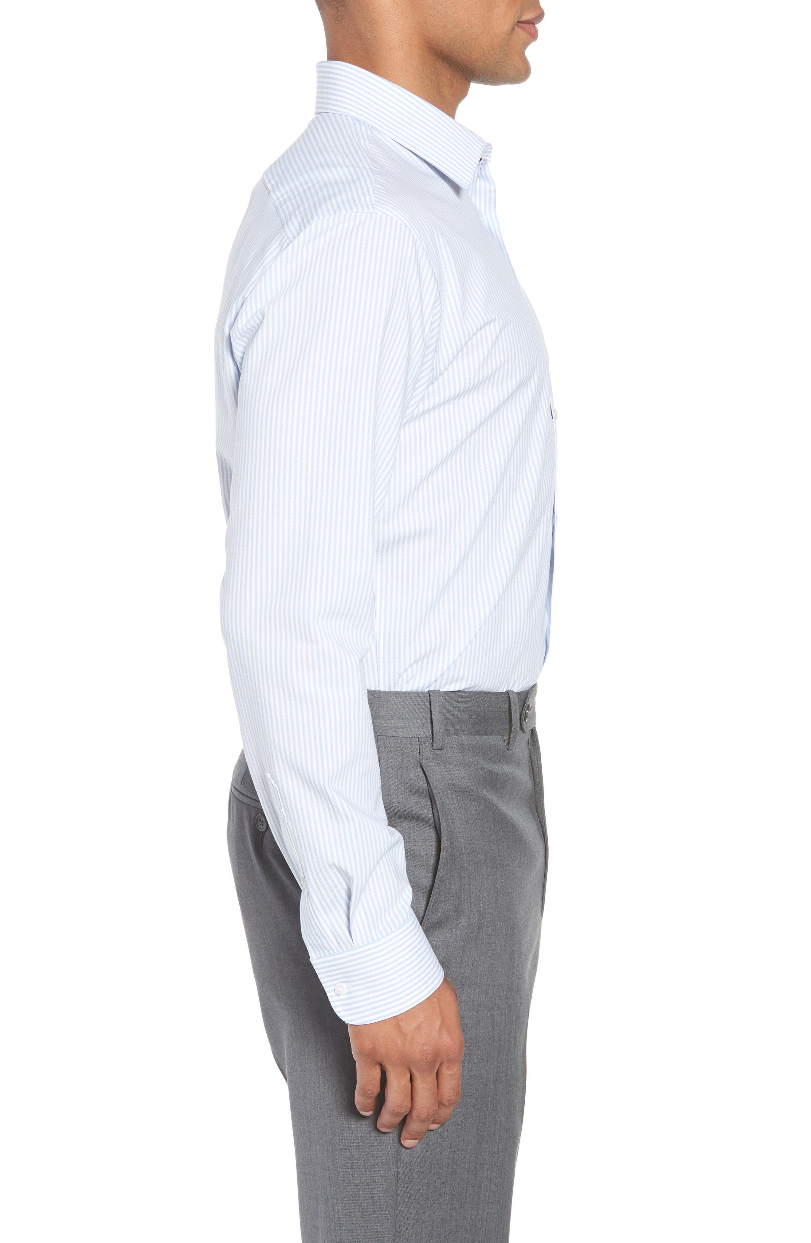 Tech-Smart Trim Fit Stripe Stretch Dress Shirt,                             Alternate thumbnail 4, color,                             Blue Brunnera