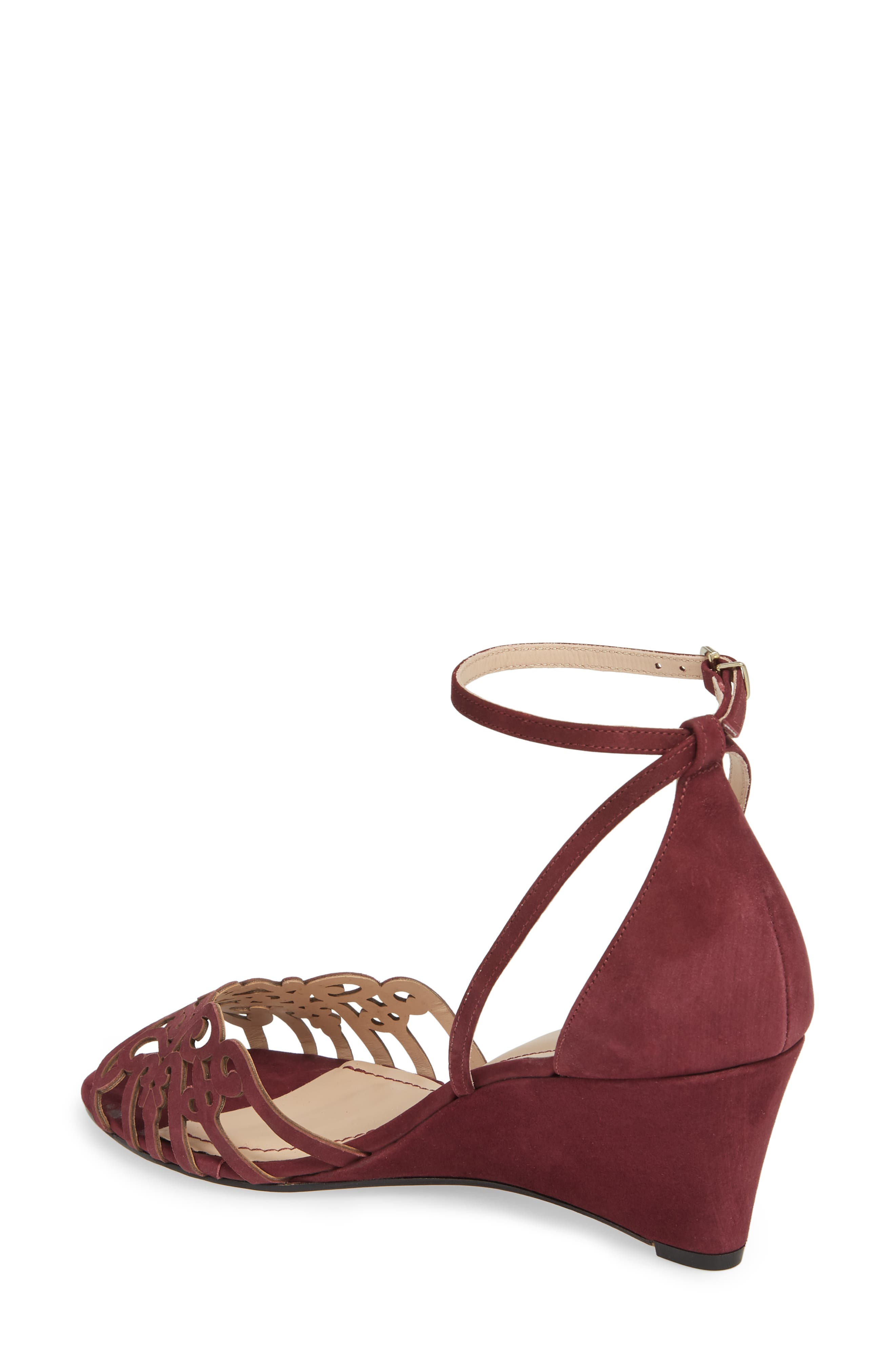 'Kingston' Ankle Strap Wedge Sandal,                             Alternate thumbnail 2, color,                             Wine Leather