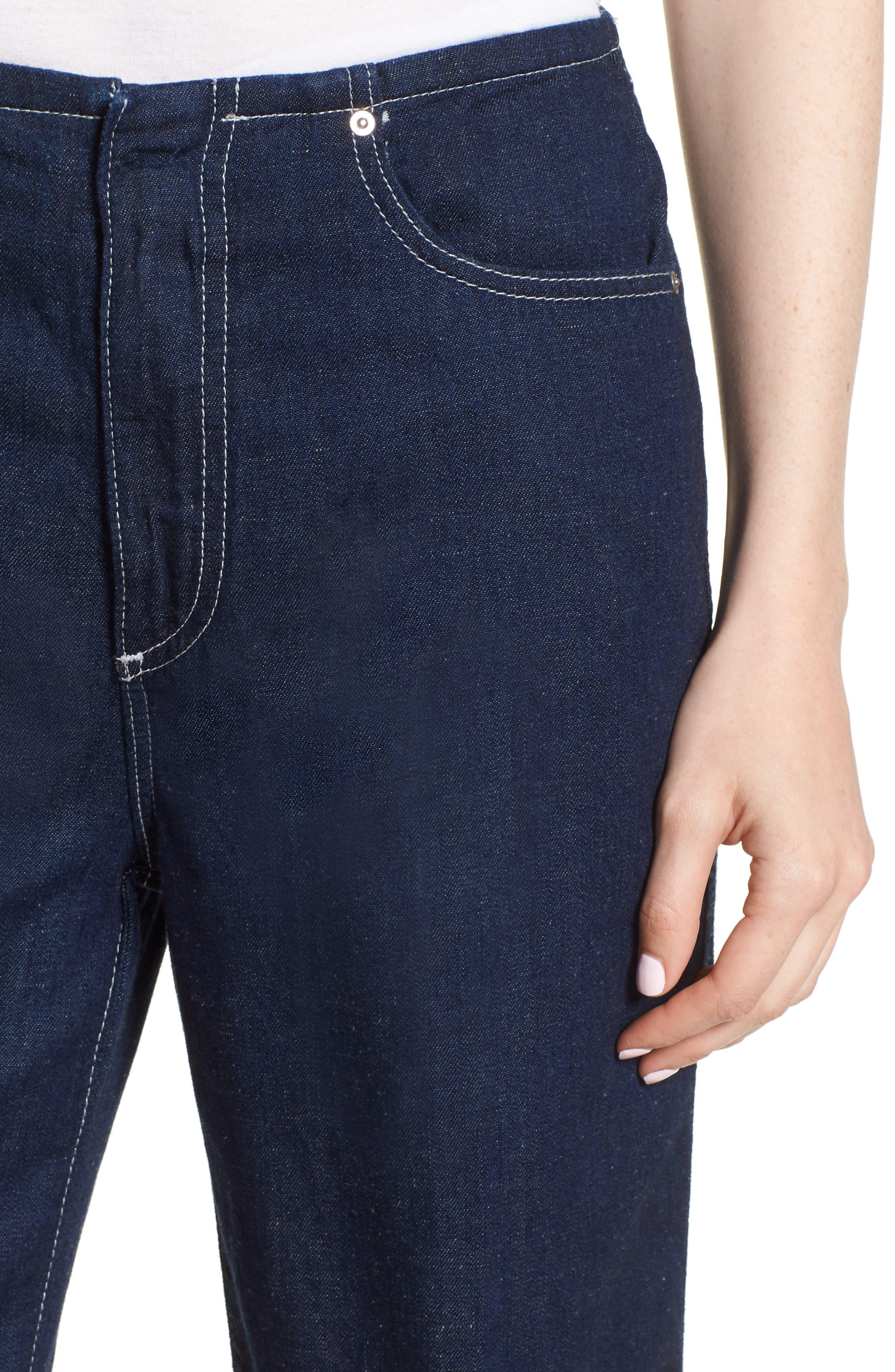 Etta High Waist Crop Wide Leg Jeans,                             Alternate thumbnail 4, color,                             Midnight Surge