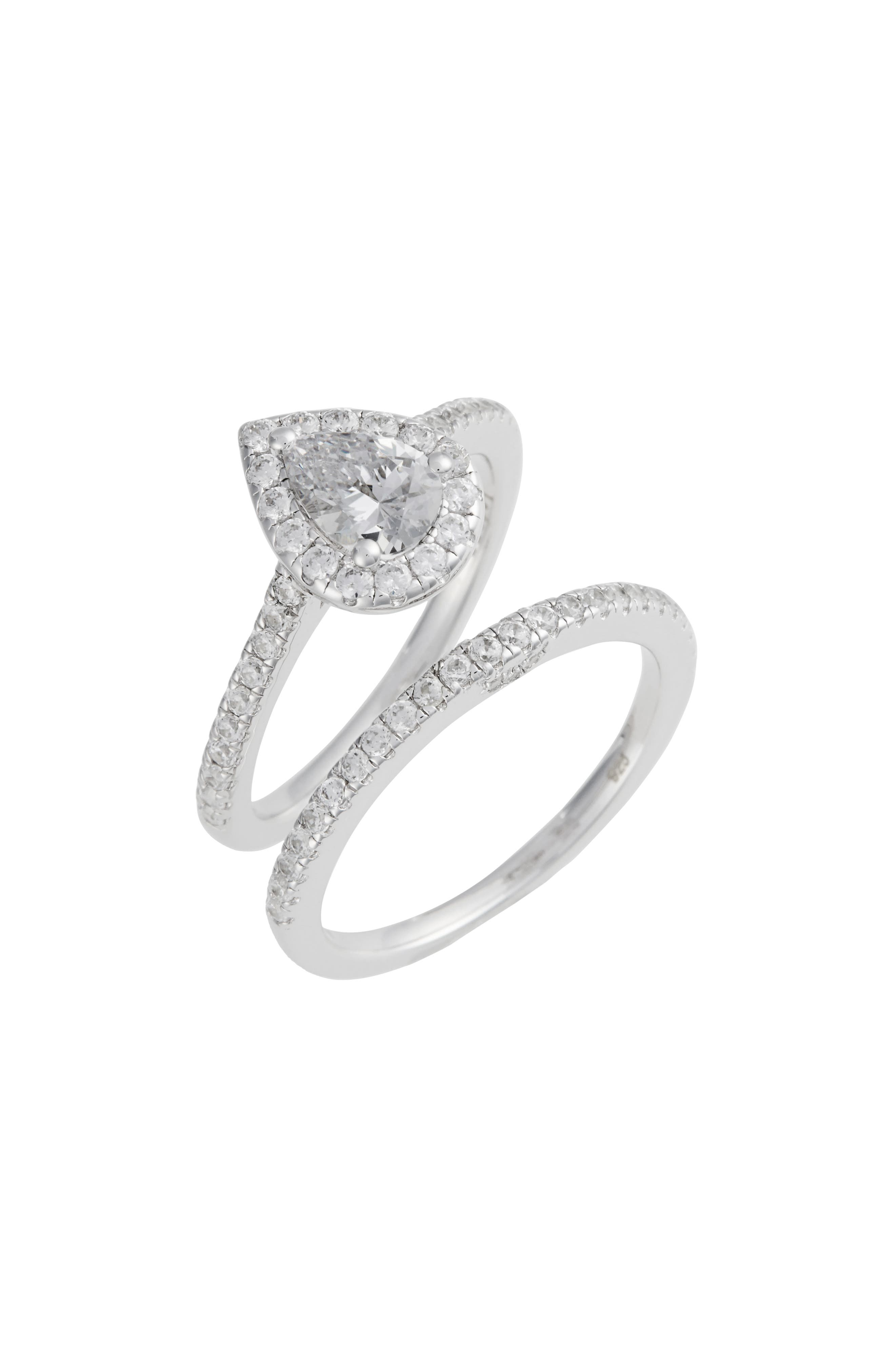 Joined at the Heart Pear-Shaped Halo Ring,                             Main thumbnail 1, color,                             Silver/ Clear