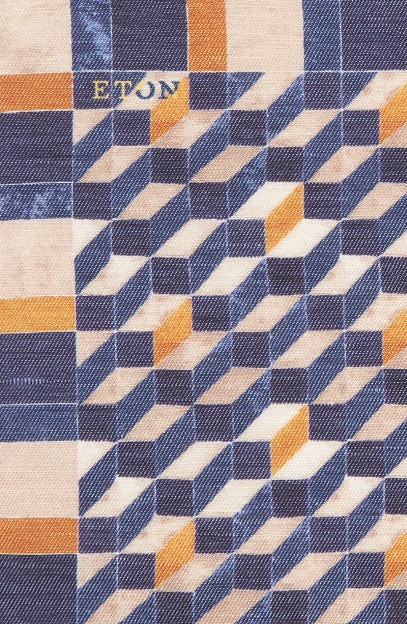 Geometric Silk Pocket Square,                             Alternate thumbnail 2, color,                             Navy