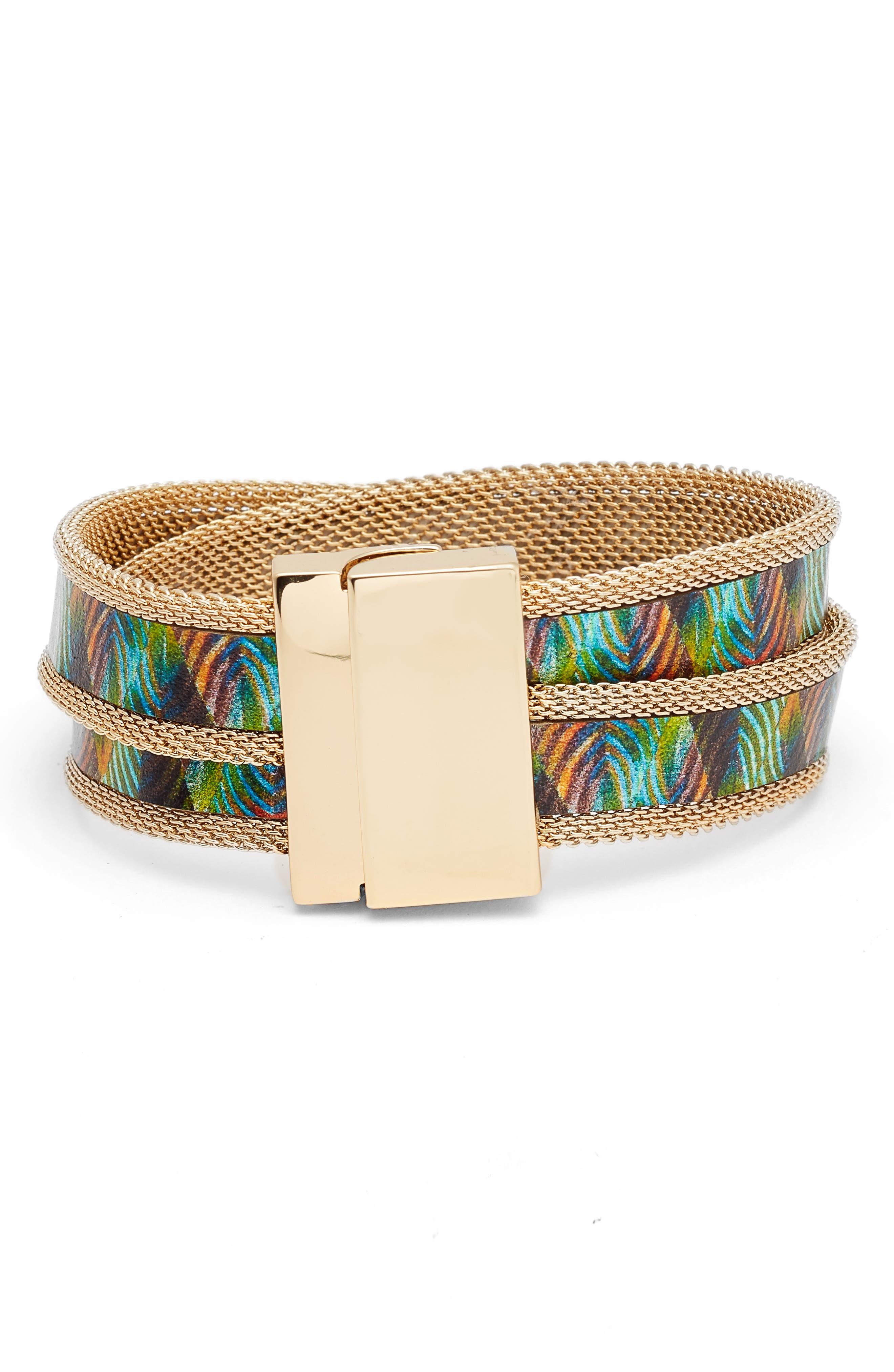Mesh Magnetic Wrap Bracelet,                         Main,                         color, Gold Multi