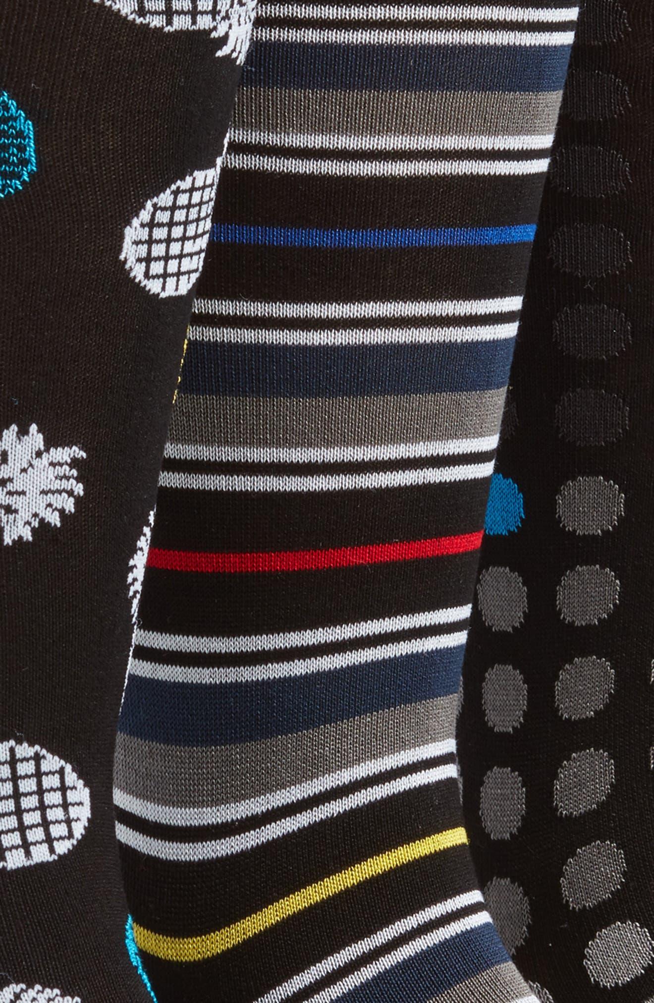 Assorted 3-Pack Mercerized Cotton Blend Sock Gift Set,                             Alternate thumbnail 2, color,                             Black