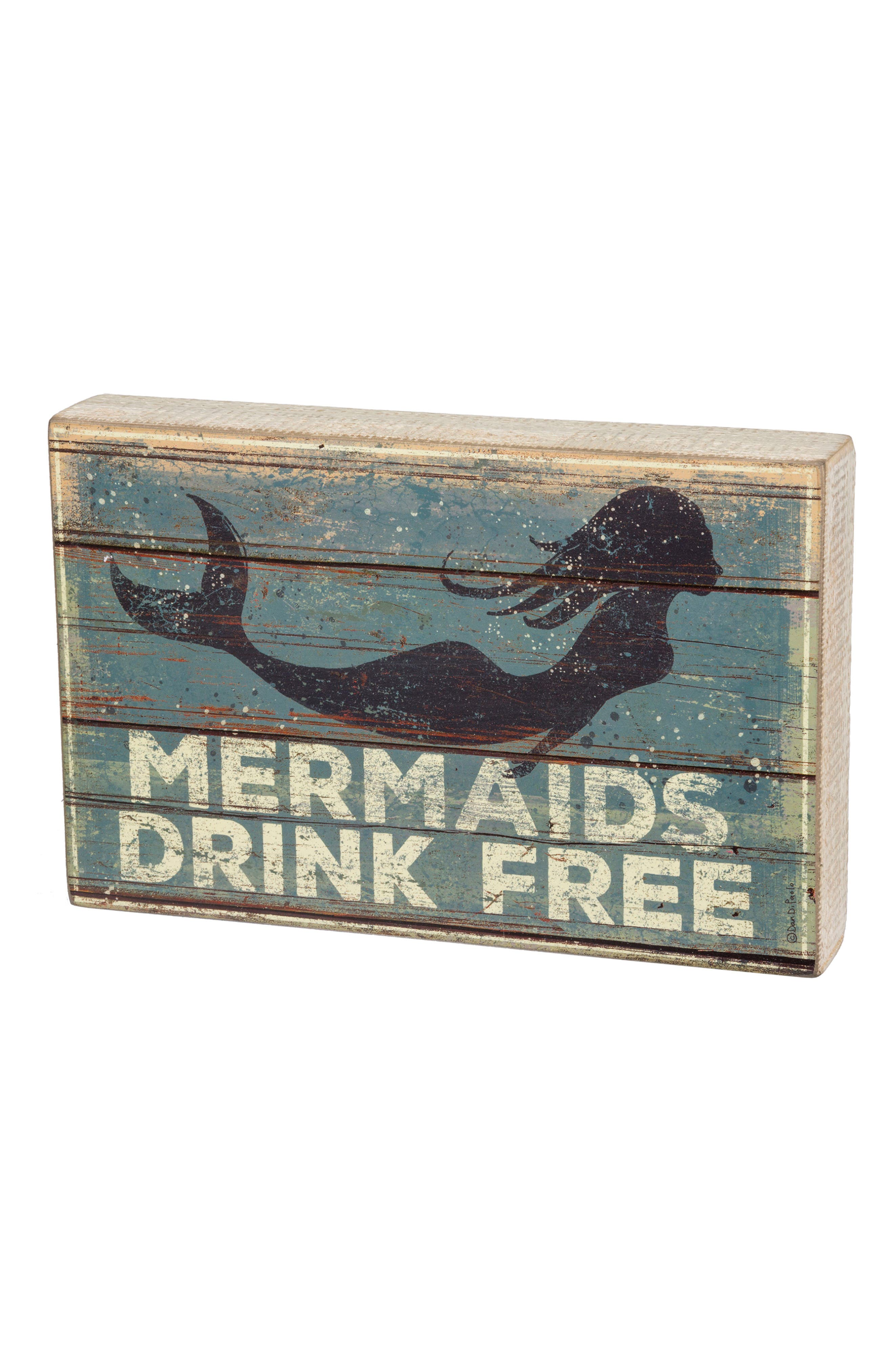 Mermaids Drink Free Box Sign,                         Main,                         color, Blue